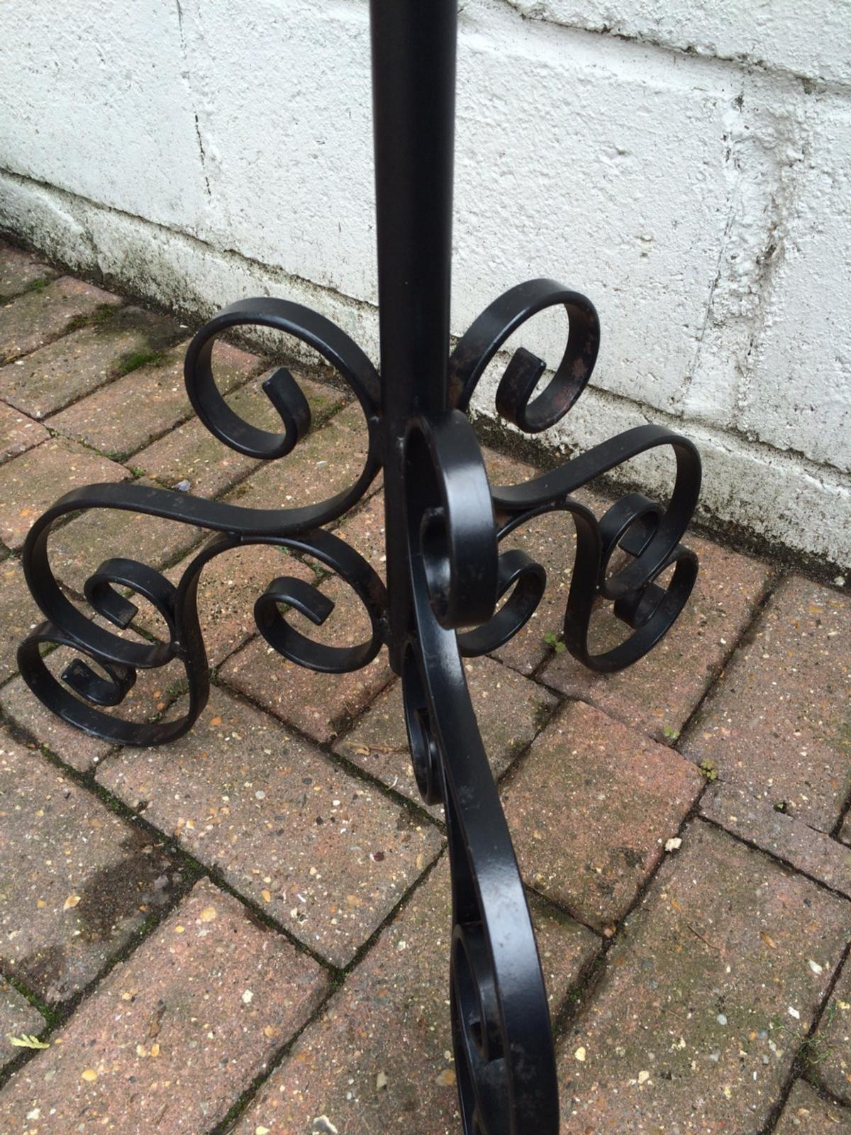 """Iron metal stand Adjustable height from approx 33"""" to 4ft Couple marks due to age , overall good used condition. Flower pot not included Collection Only CO4"""