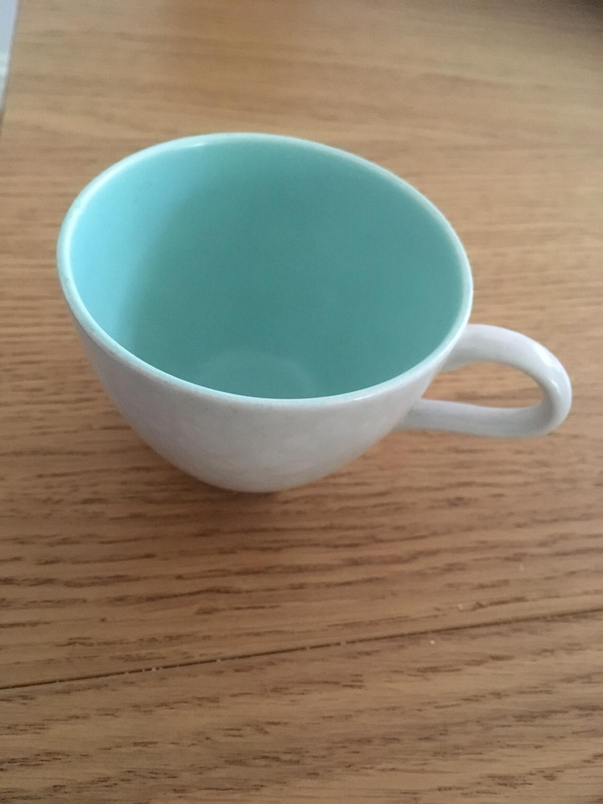 """Vintage Twintone Ice Green & Seagull.  The coffee cup measures 2.75"""" in diameter and 2"""" in height.  The cup is perfect with no chips."""