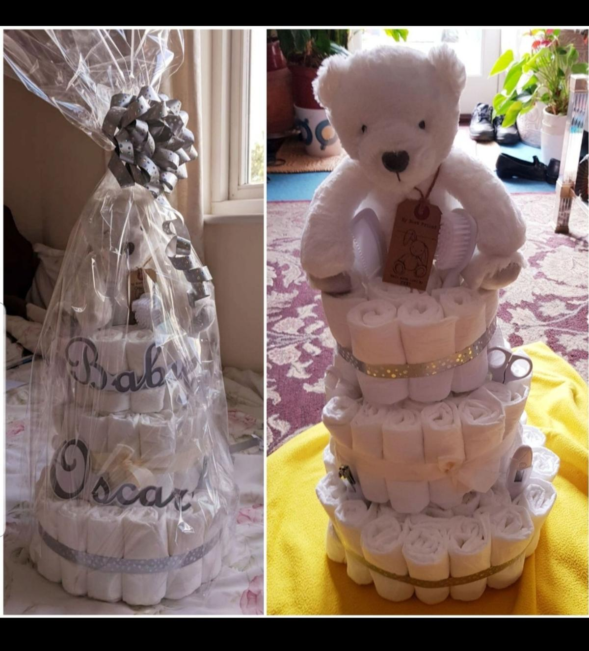 Unsure what to get someone for a baby shower? Look no further..... a Nappy cake is always the answer!  Not only does it look beautiful - but this is a very practical gift for anyone who will be having a baby as all new mothers go through endless number of nappies x