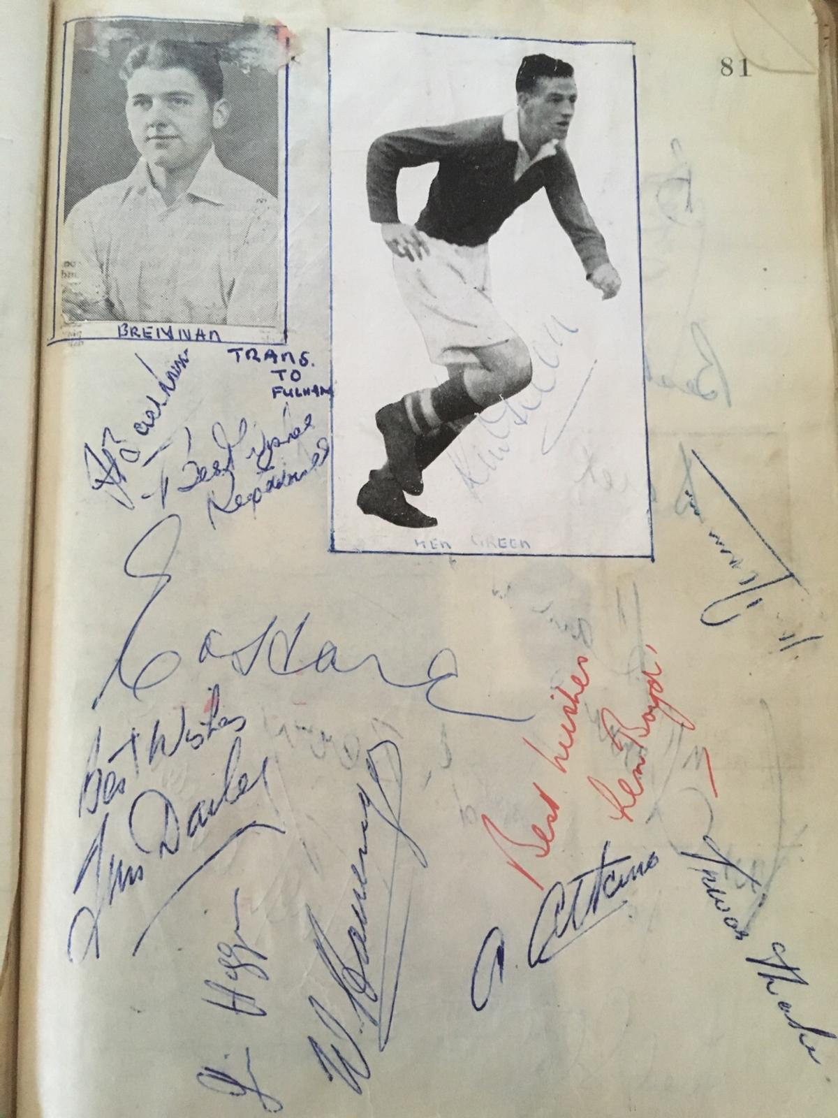 A large scrap book containing hundreds of signatures and cut out pictures of footballers of the time, with hundreds of signatures throughout, condition is used but signatures are good and varied with many famous names.