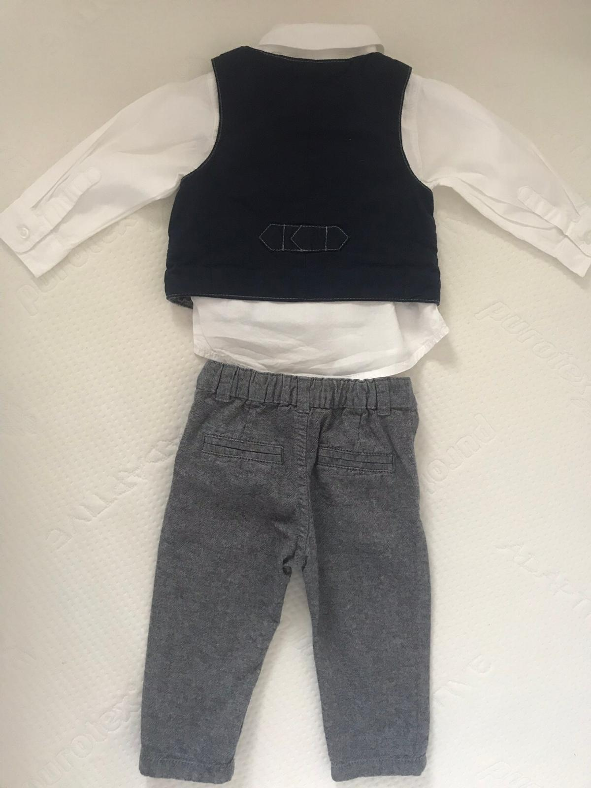Baby boys three piece outfit Size 6-9months Very cute, only worn once so in perfect condition Trousers, waistcoat and shirt Trousers have adjustable elastic and button inside to adjust to babies waist Waistcoat has a sewn in handkerchief in navy blue to match navy blue on the back of waistcoat Shirt is plain white with collar buttons From F&F Signature Collection from Southwater Happy to post if buyer pays postage of £3.10  Take a look at my other items happy to combine postage costs 👍🏻
