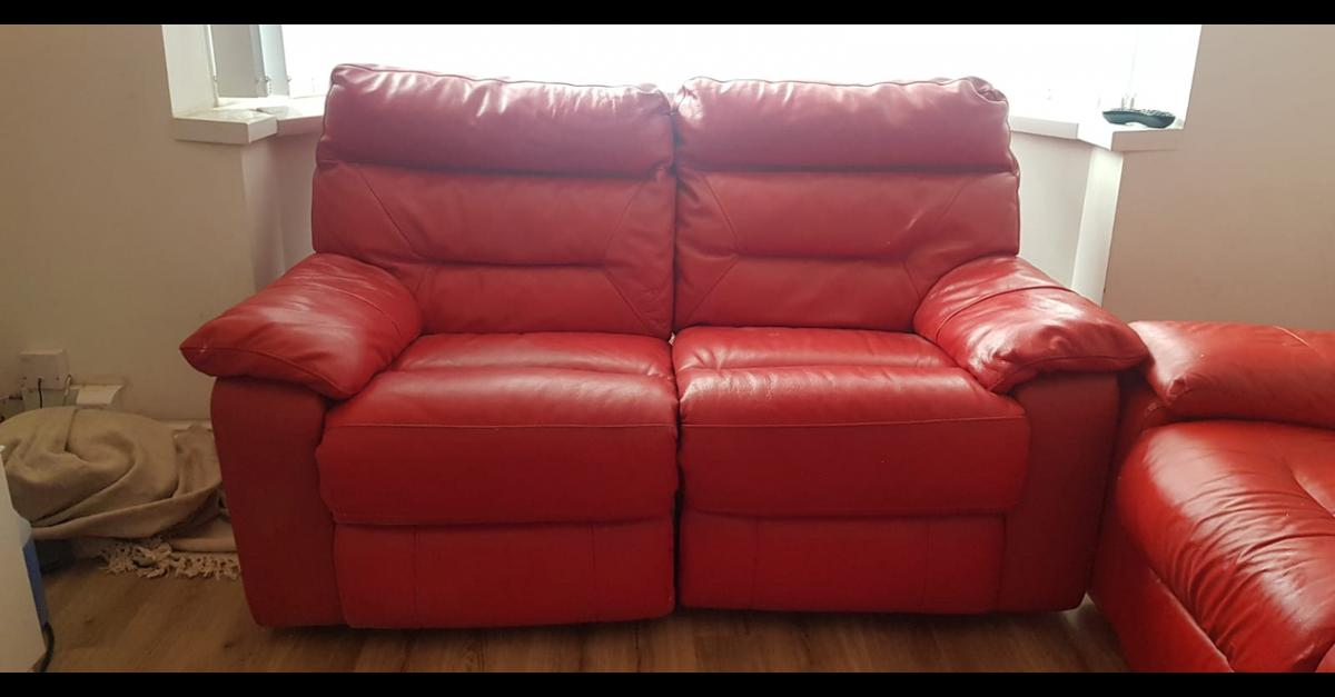 Red Leather Sofa Set DFS Recliners
