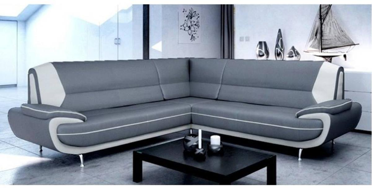 Grey/White Corner Sofa Set