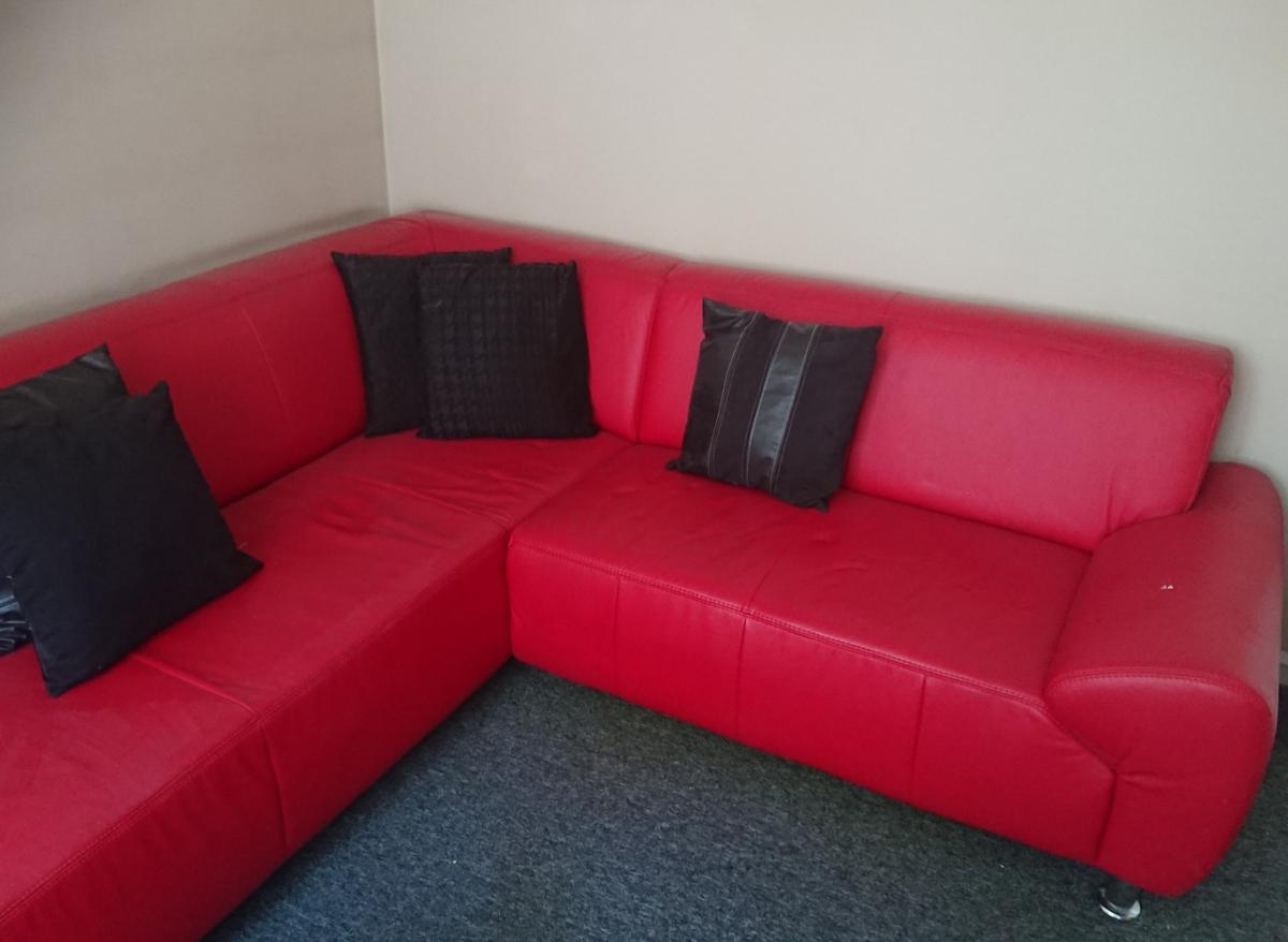 Red leather corner sofa in B30 Birmingham for £150.00 for ...