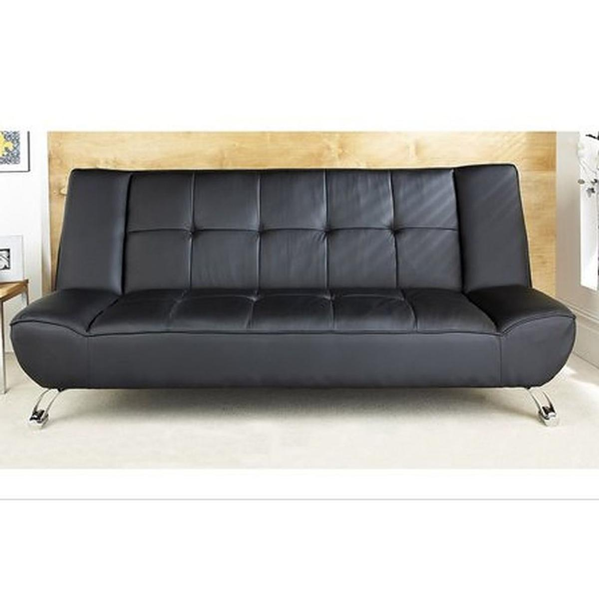 Stupendous Genoa Black Faux Leather Sofa Bed Caraccident5 Cool Chair Designs And Ideas Caraccident5Info