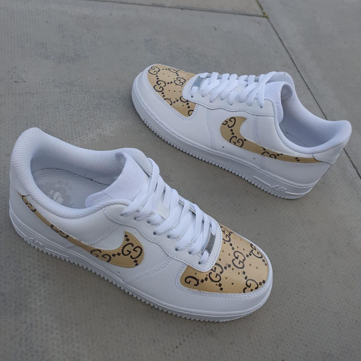 look out for well known affordable price Air Force 1's x Gucci custom job