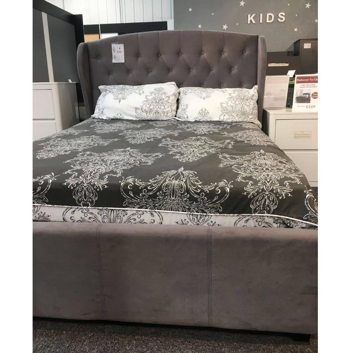 Admirable Ex Display Grey Wing Back Double Ottoman Bed In Hd2 Spiritservingveterans Wood Chair Design Ideas Spiritservingveteransorg