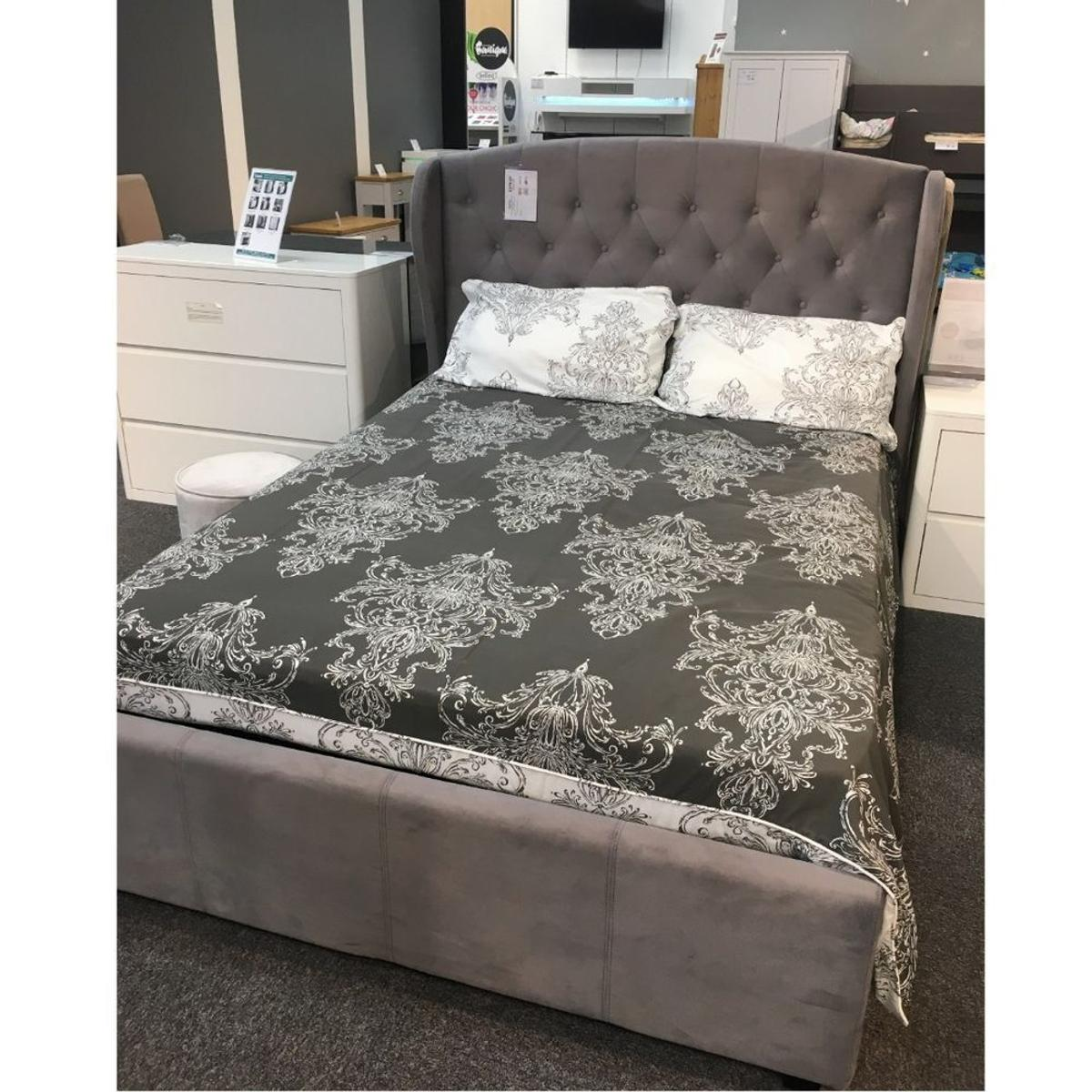 Stupendous Ex Display Grey Wing Back Double Ottoman Bed In Hd2 Theyellowbook Wood Chair Design Ideas Theyellowbookinfo
