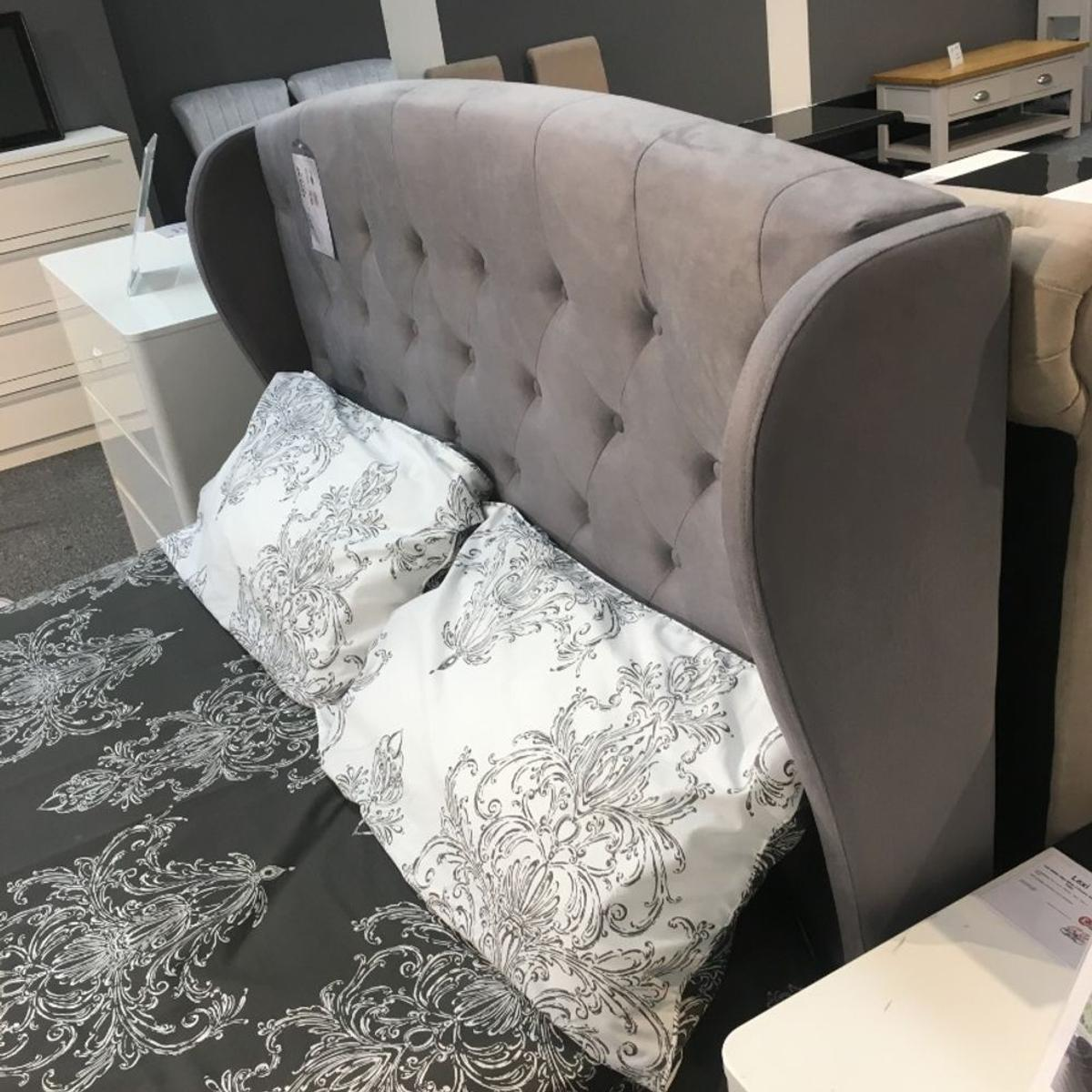 Fine Ex Display Grey Wing Back Double Ottoman Bed In Hd2 Spiritservingveterans Wood Chair Design Ideas Spiritservingveteransorg