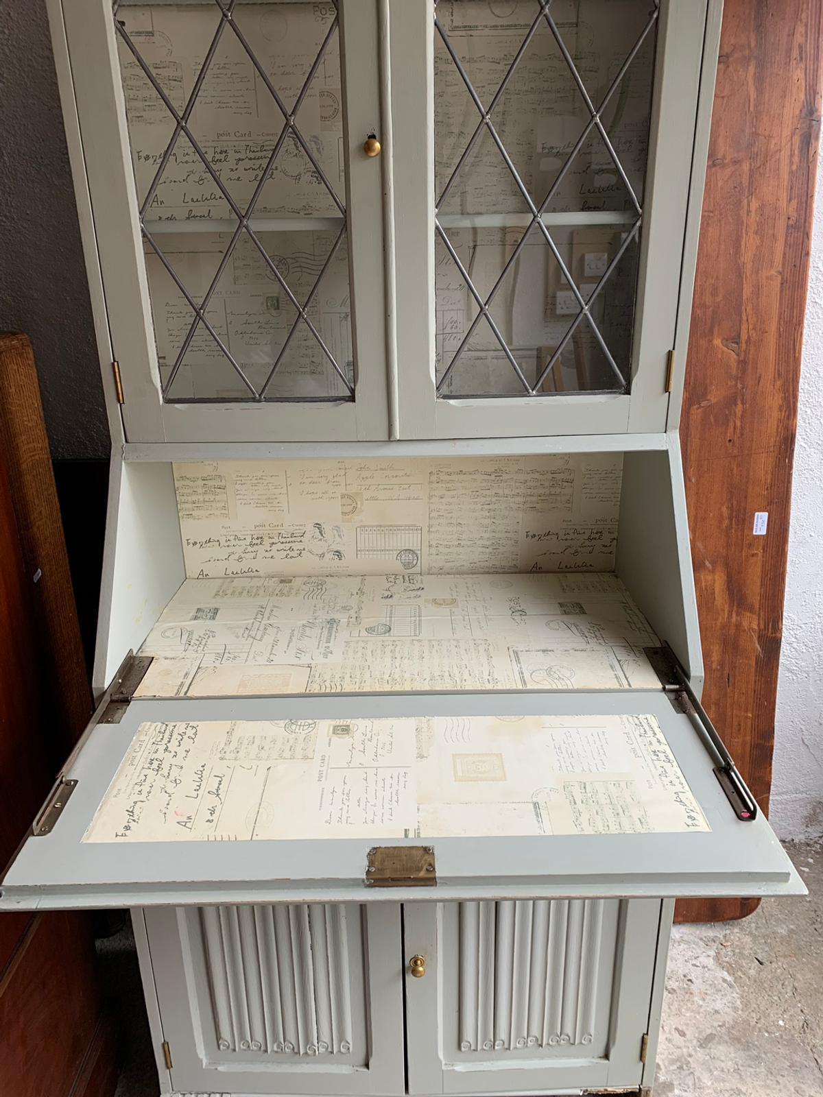 Tall Bookcase Bureau Painted In French Grey