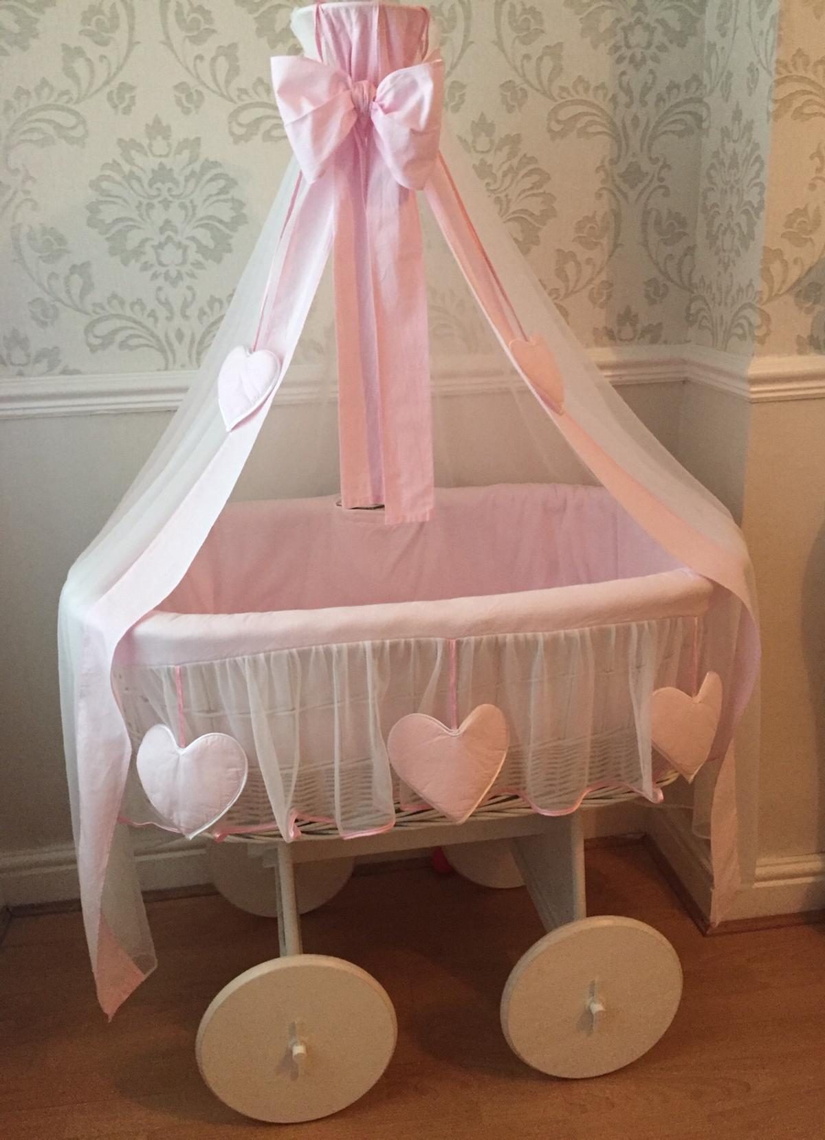 New Replacement White Bedding Set//Covers Only with Hearts for My Sweet Baby Wicker Crib with Hood