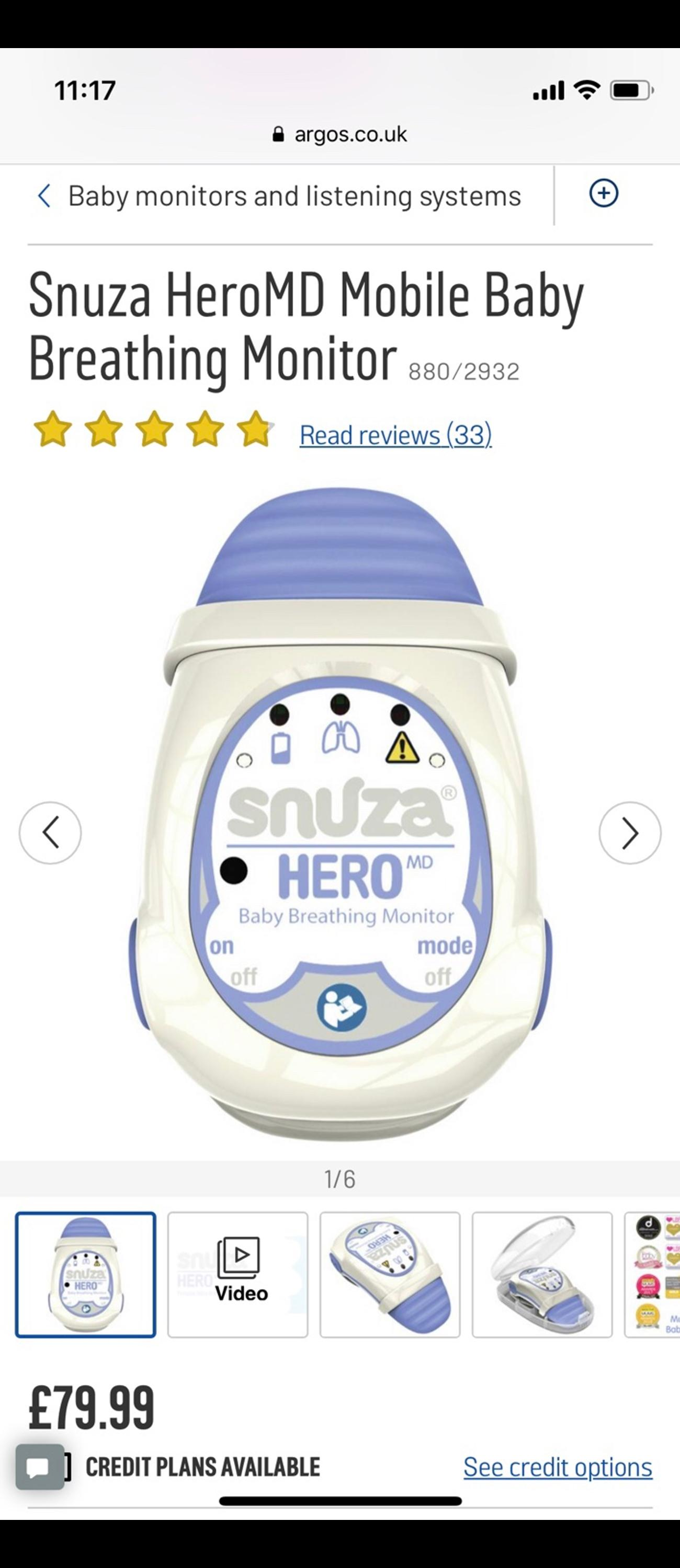 Portable Baby Breathing Monitor Medically Certified Snuza Hero MD