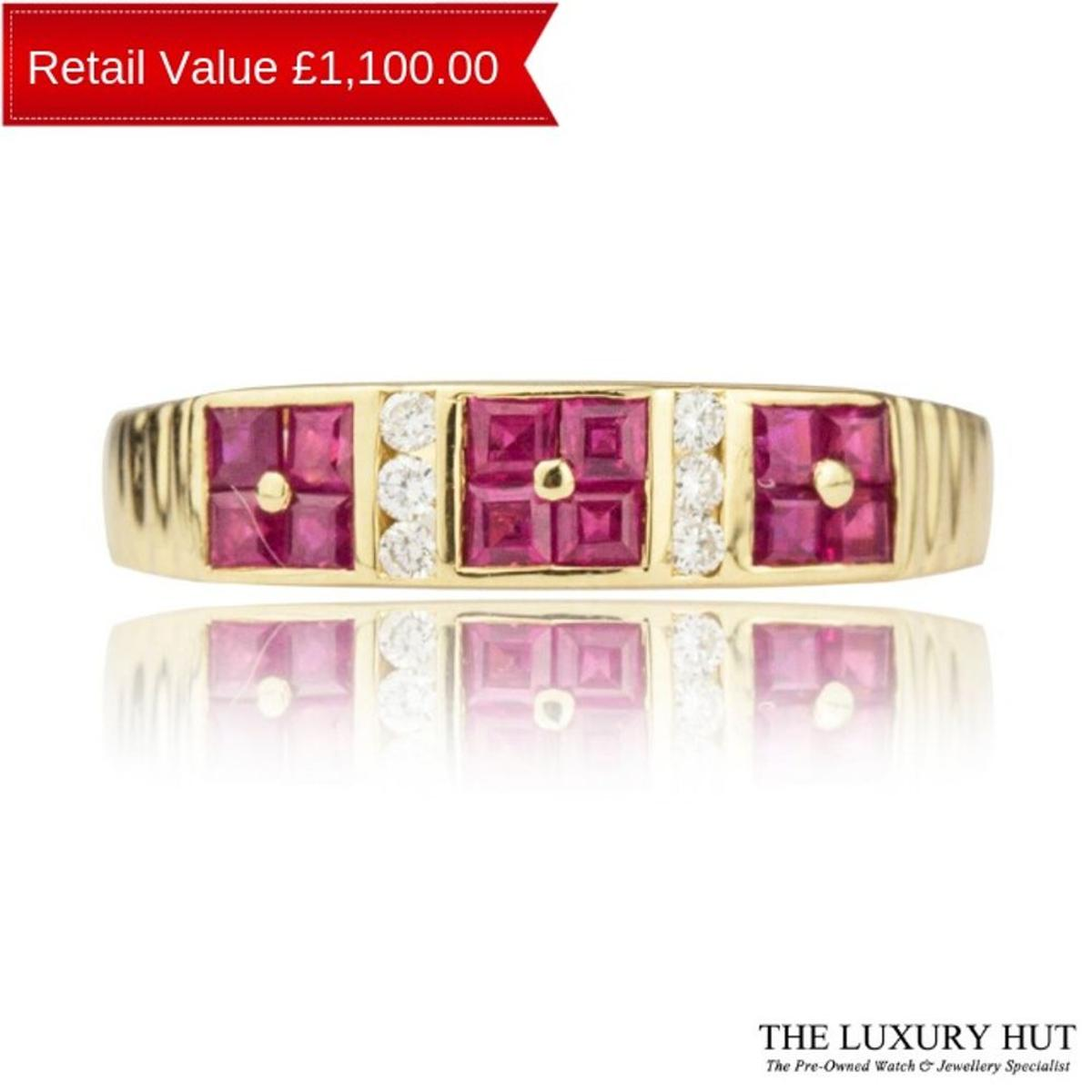 18ct Yellow Gold Ruby And Diamond Band Ring In Ec1n 8pn London