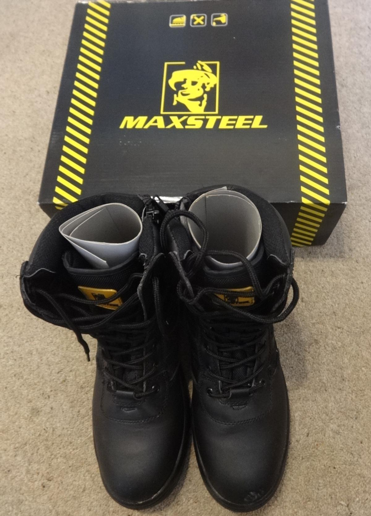 9d8c74ce755 MAXSTEEL Mens leather Combat/Safety Boots 10