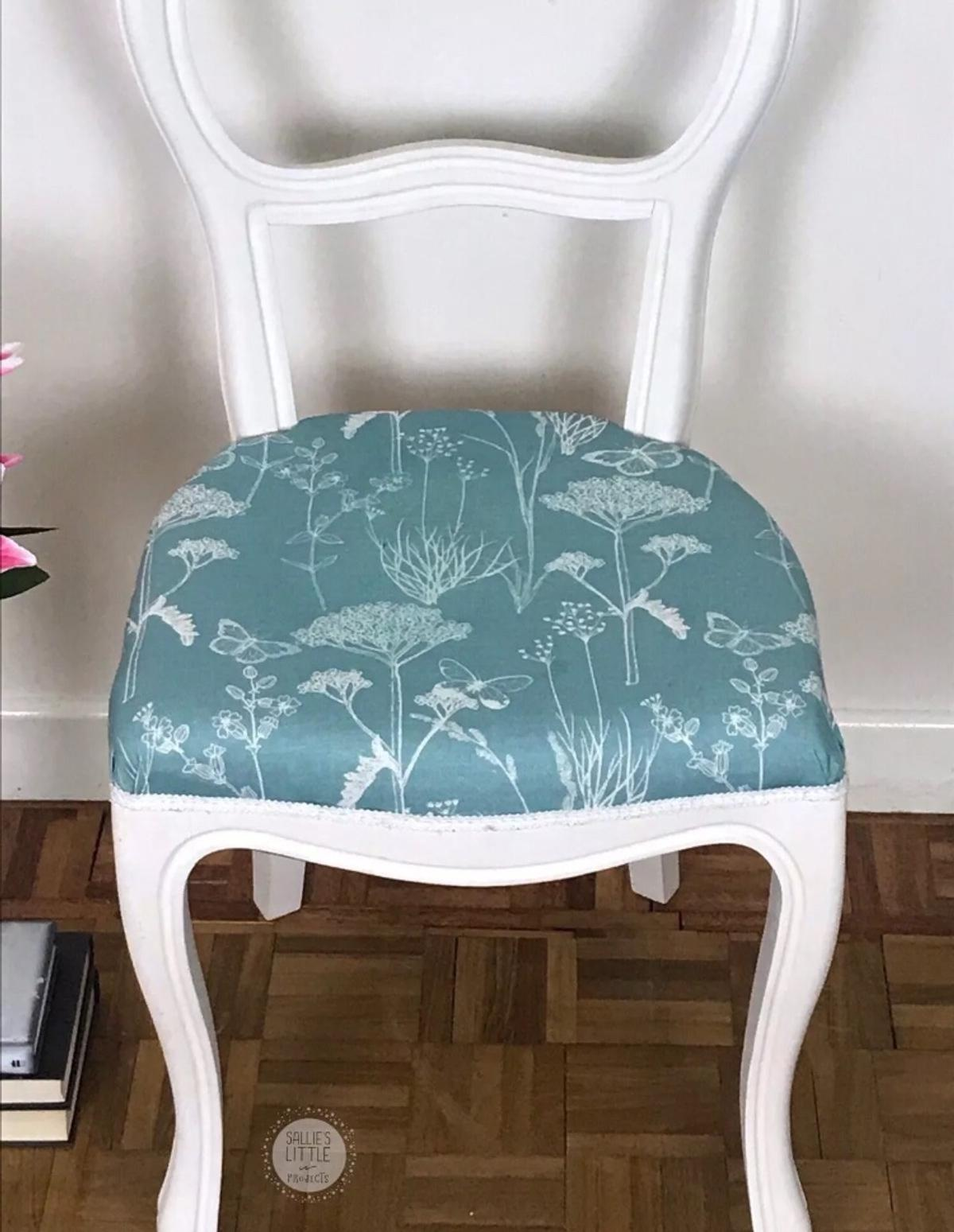 White and duck egg floral upholstered chair in RG5 Sonning ...