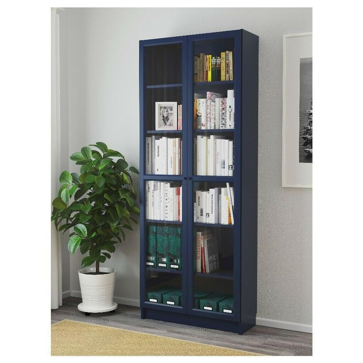 Ikea Billy Bookcase With Glass Doors In Navy