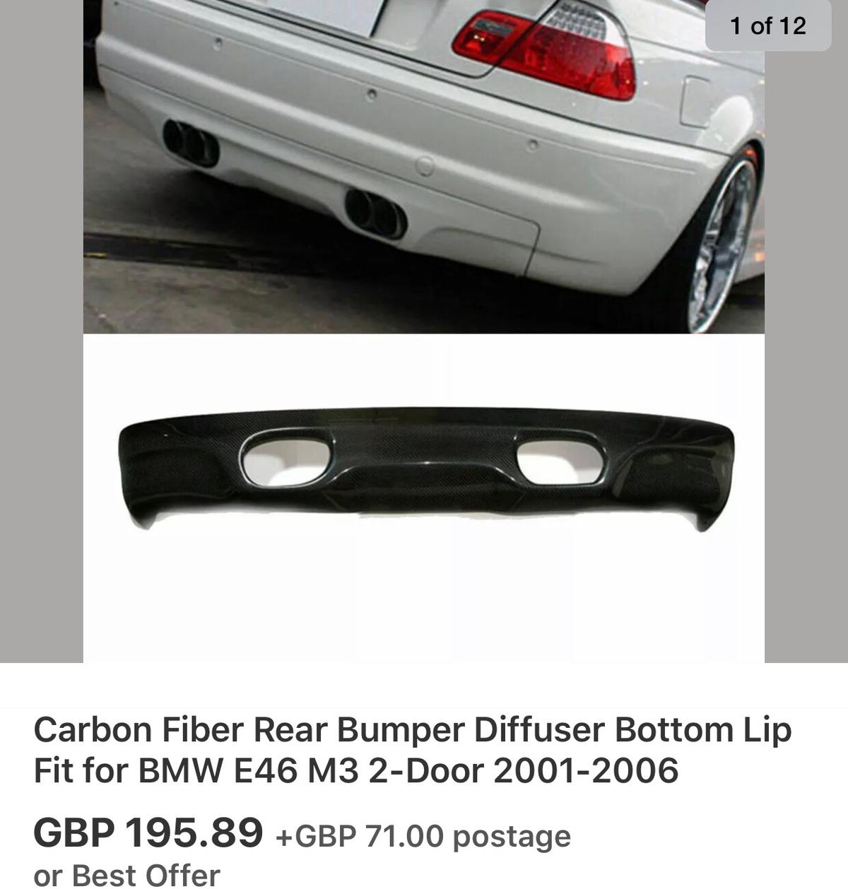 Bmw E46 M3 Rear Diffuser Absolute Bargain In De13 Staffordshire For 45 00 For Sale Shpock