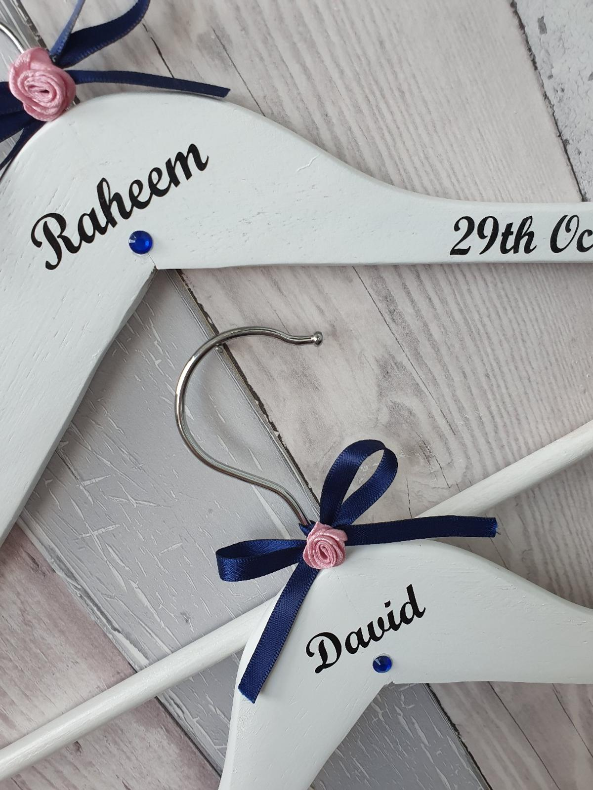 Great for a personal touch for weddings, christenings, birthdays etc 🥂  Many colour variations for text and text can be customised to what you want.  Ribbons, diamanté's, flowers decorative items can be any colour you wish, add more or as less decorative items as you wish ⭐️  £4.50 Each  Please see my other items for sale 💗