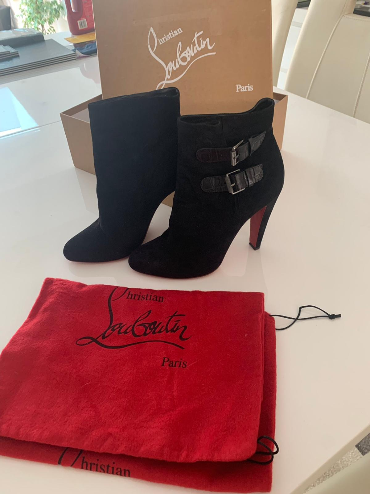 size 40 3a8cf f736d Christian Louboutin black suede boots size 6