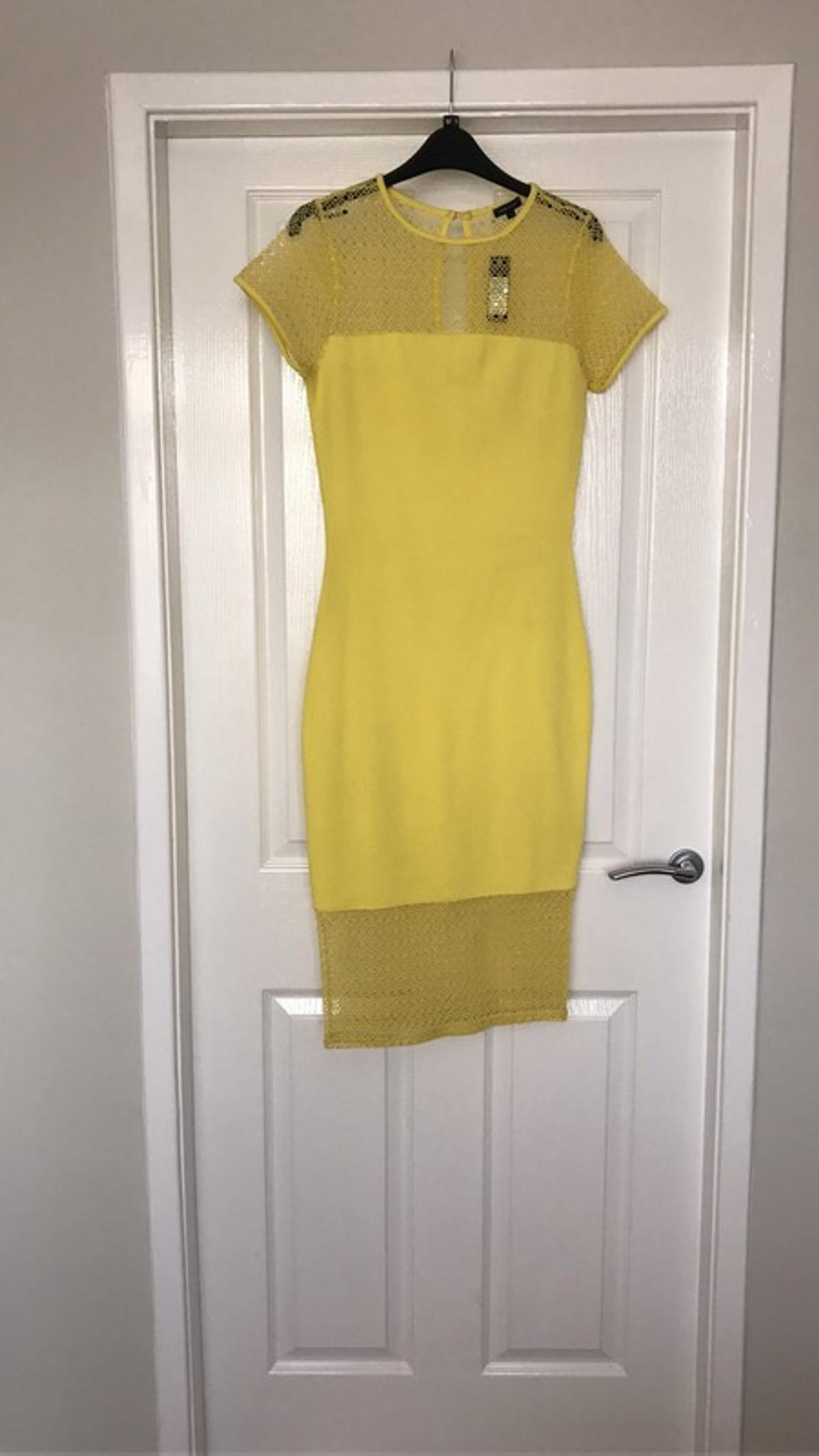 River Island Yellow Crochet Lace Midi Dress