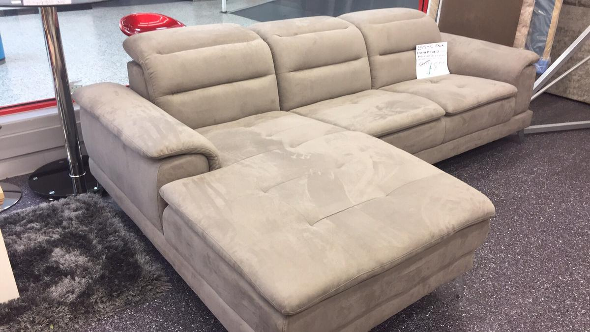 Grey alcantara leather corner chaise sofa
