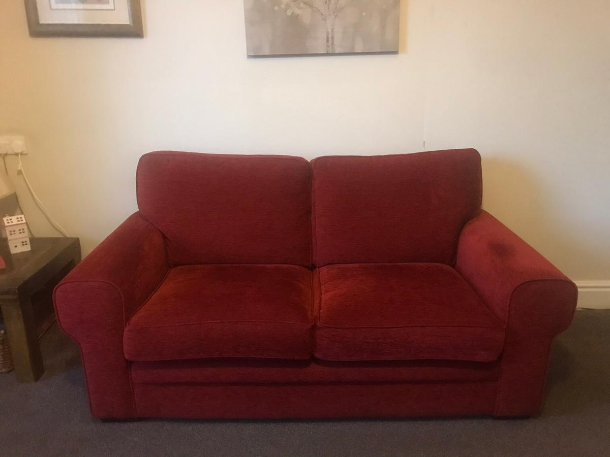Dark Red Sofas X 2 And Chair In Ch42