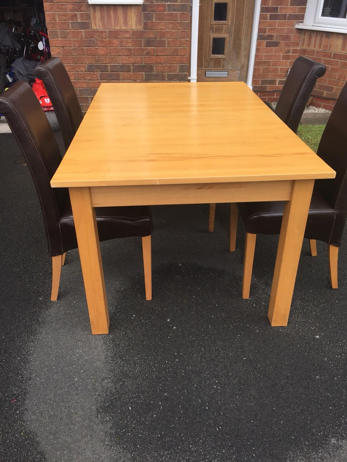 Solid Wood Table U0026 4 Chairs In Darwen For £50.00 For Sale ...