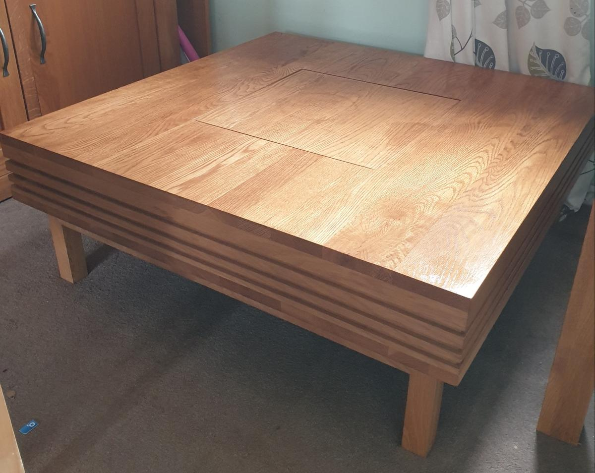 Awe Inspiring Solid Oak Square Coffee Table With Storage In Nn3 Theyellowbook Wood Chair Design Ideas Theyellowbookinfo
