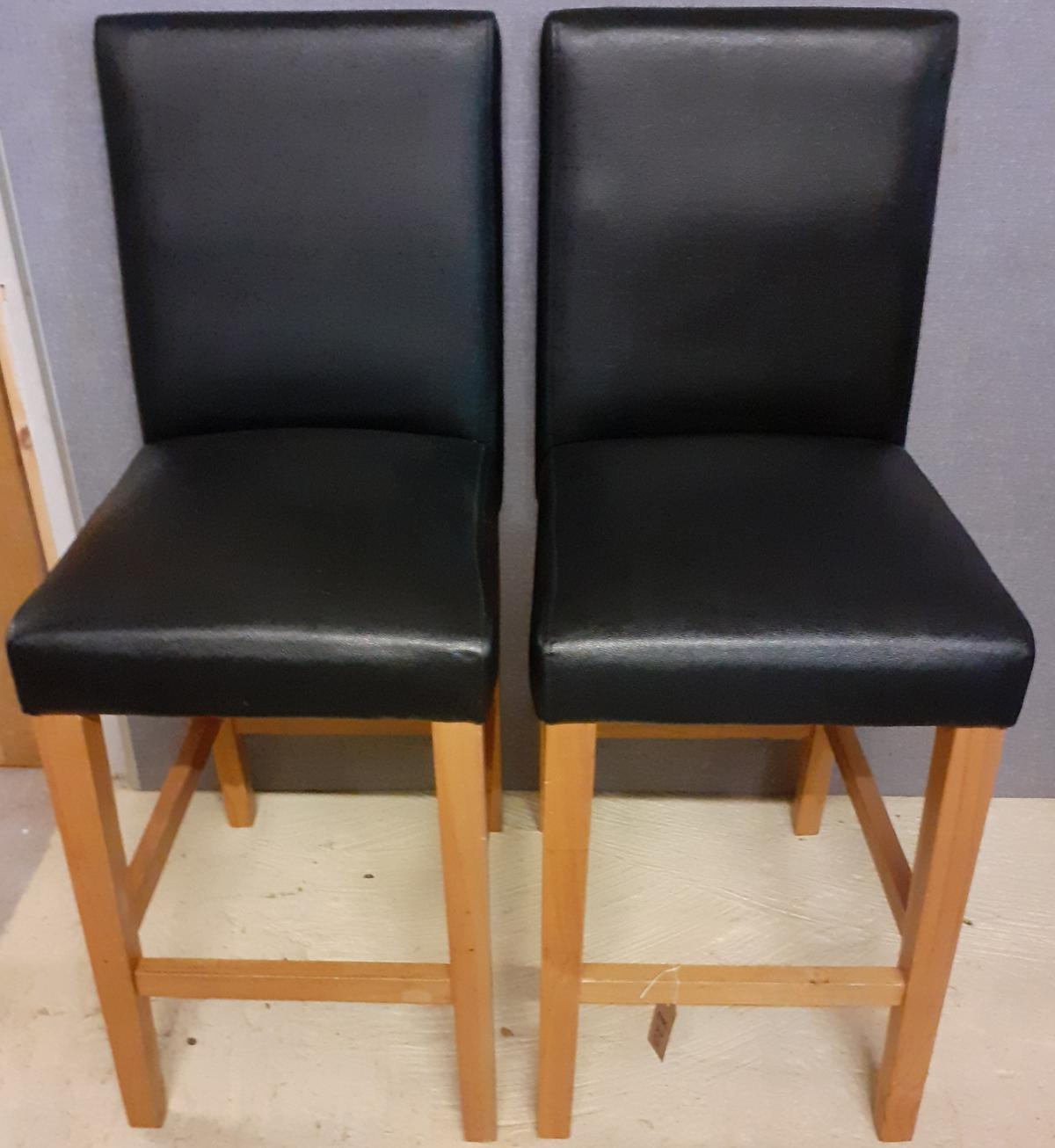 Astonishing Two Black Faux Leather Low Bar Stools Machost Co Dining Chair Design Ideas Machostcouk