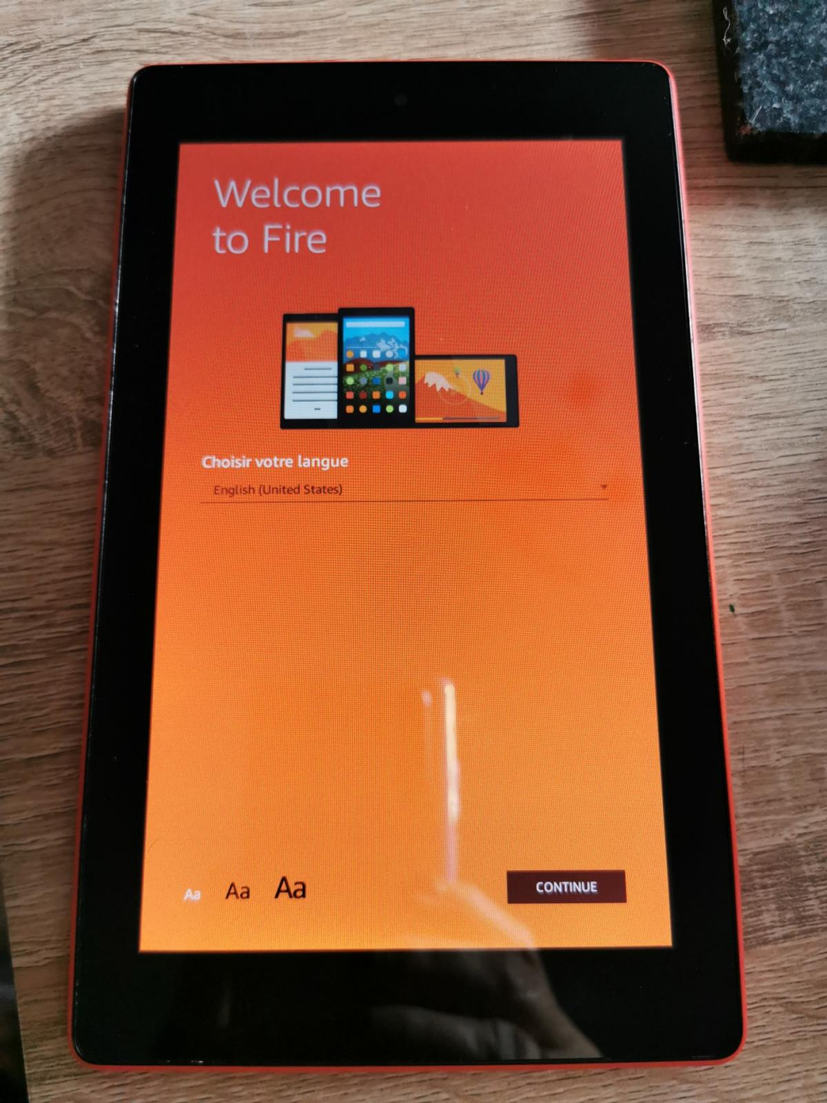 All new Fire 7 Tablet, 7 inch, Orange Back