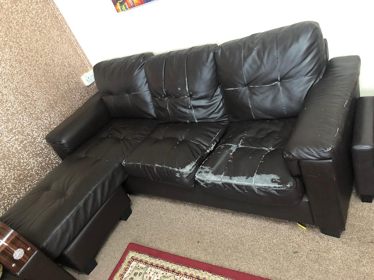 Corner Leather Sofa - Brown in London Borough of Hounslow ...