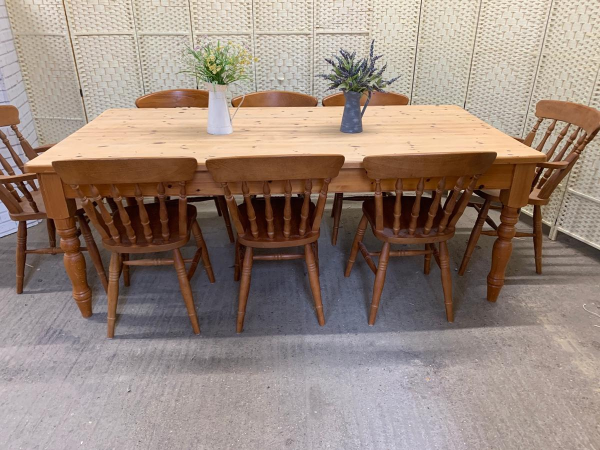 7ft Farmhouse Dining Table And 8 Chairs Large