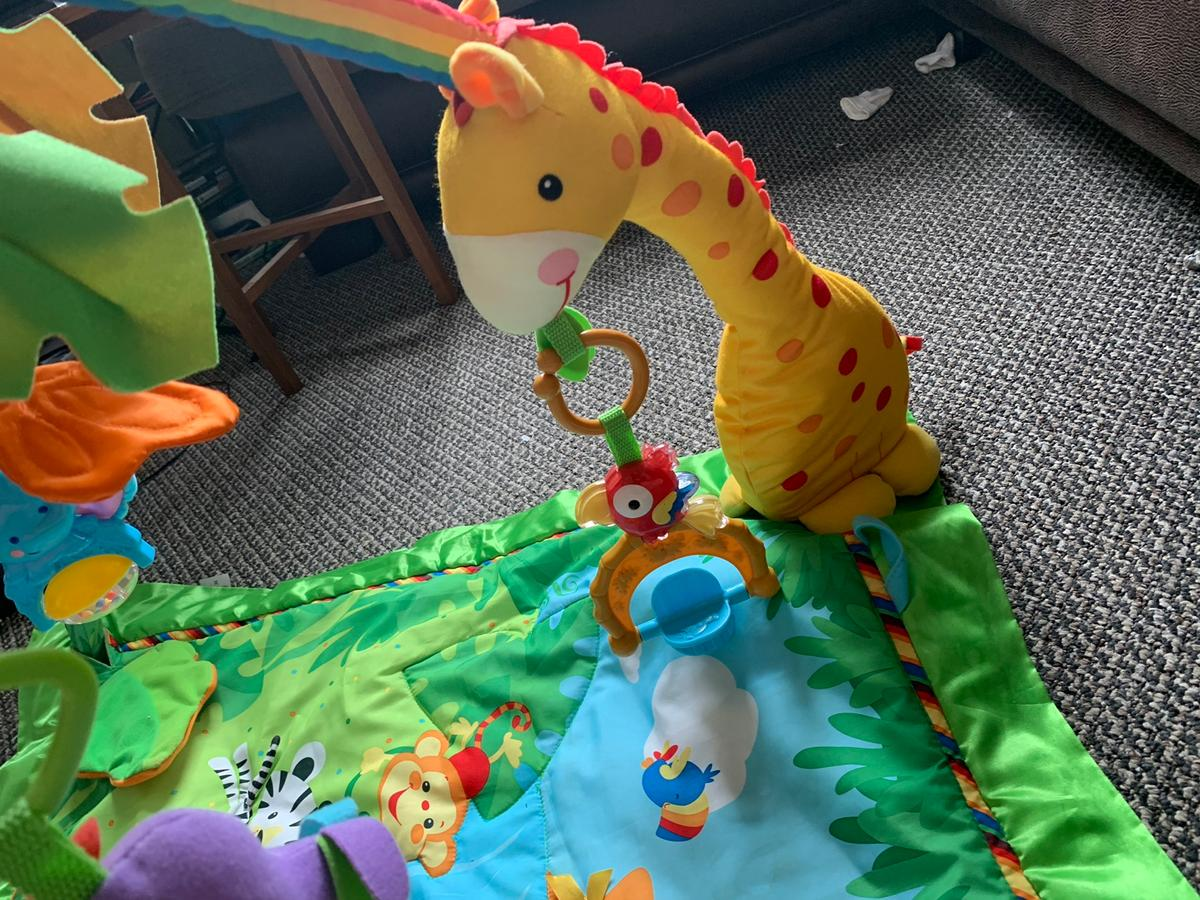Fisher price jungle play gym with dangling toys and butterfly's and birds! Like new did get it for my little girl but she didn't like it! plays a tune and has lights underneath will need batteries! Can view if need be! Will deliver for petrol cost