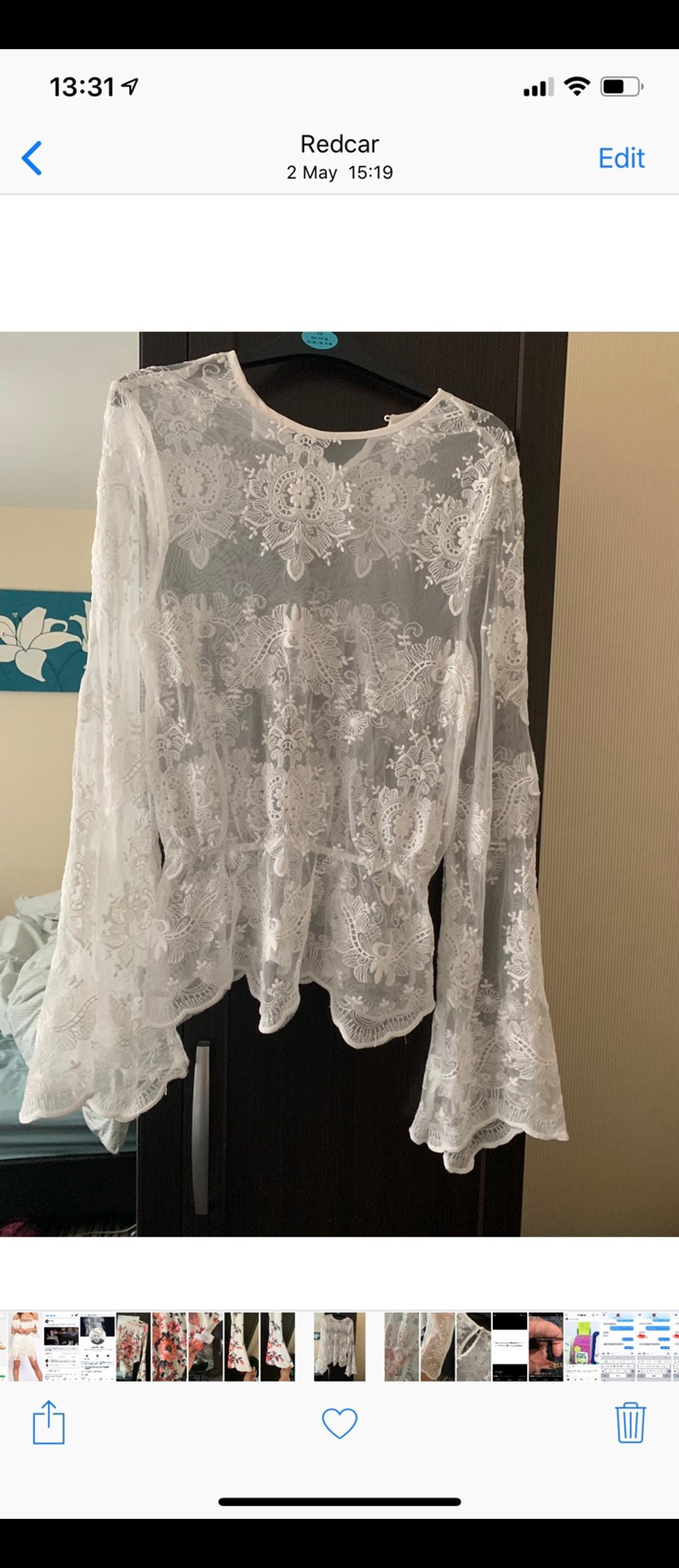 White netted flared sleeve top. Worn once Missguided size 12 Paid £20