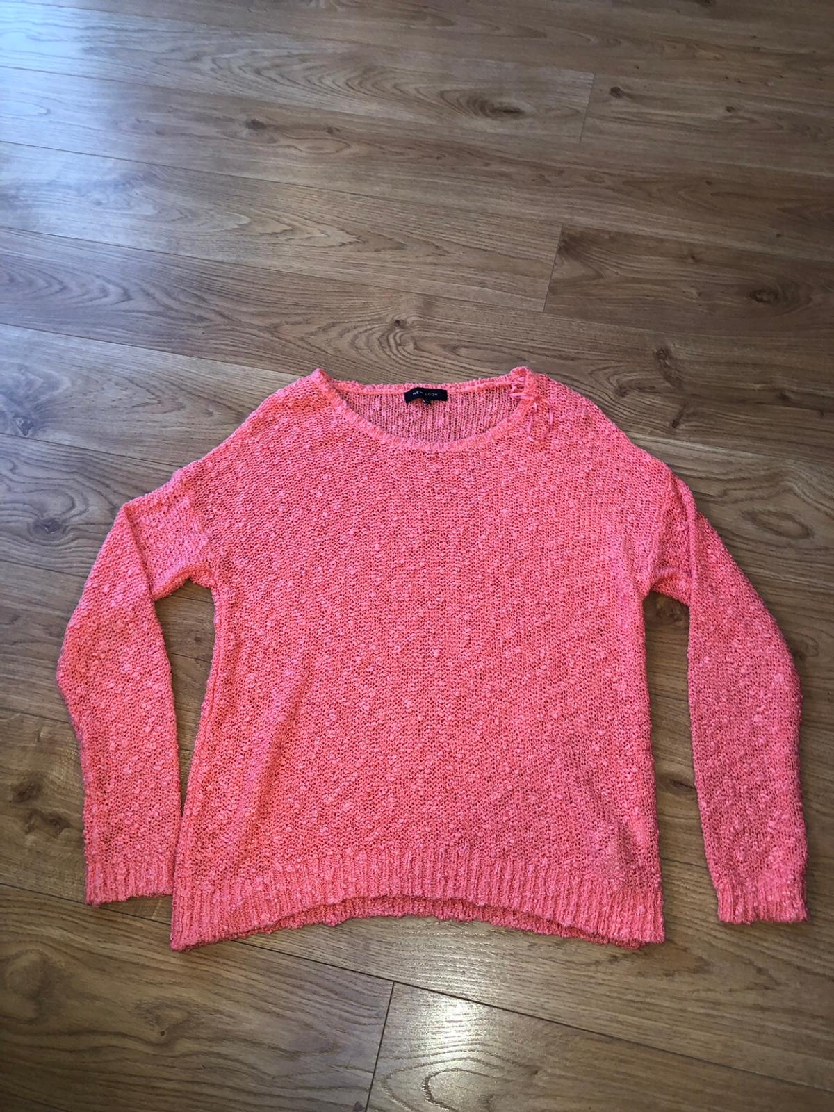 New Look coral jumper with bobbled detail in size 12.  In good condition, only worn a few times.
