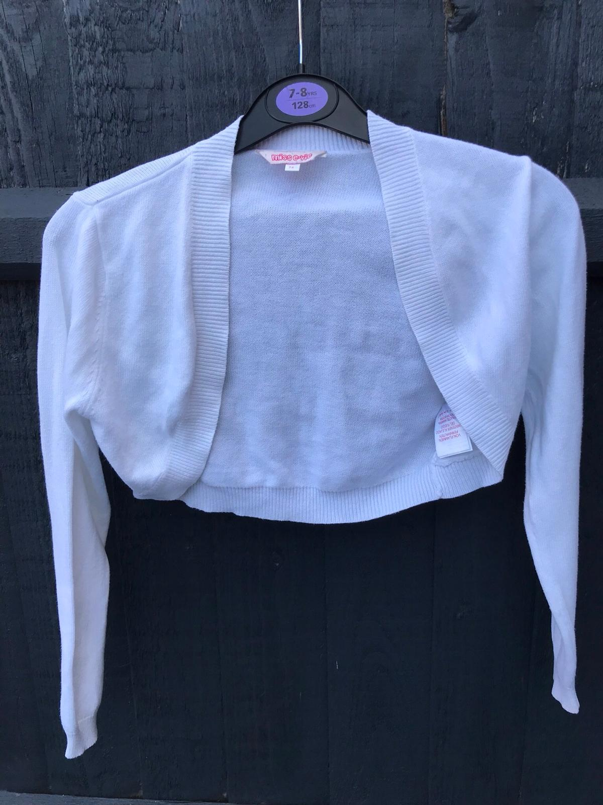 White bolero cardigan Age 7-8 Excellent condition Can deliver if local to louth