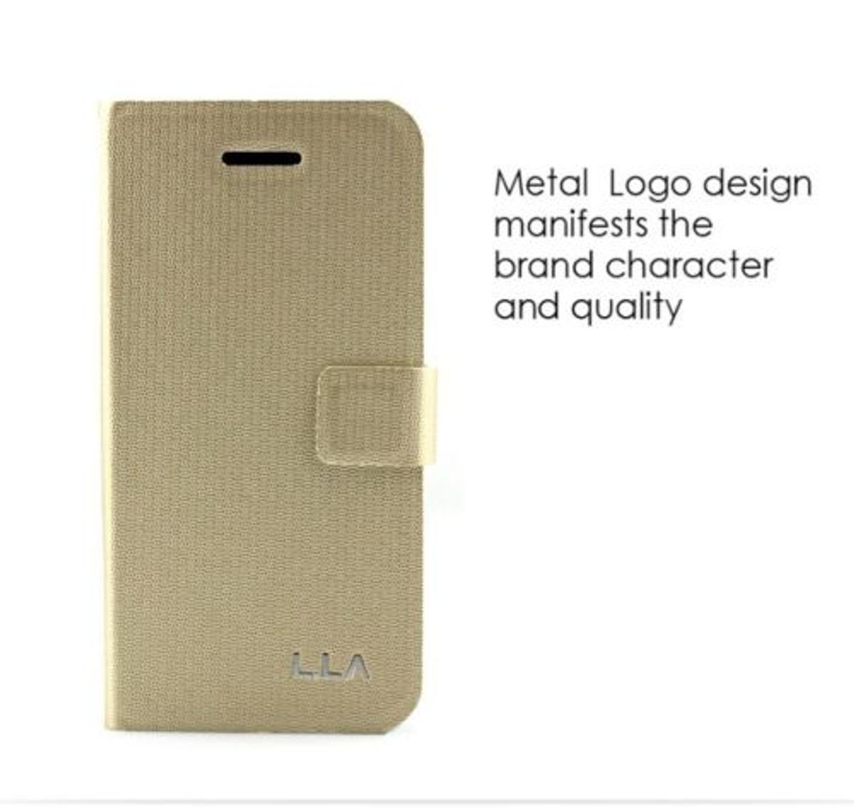 Shiny Gold PU LLA Brand case for Apple Iphone 5 and 5S