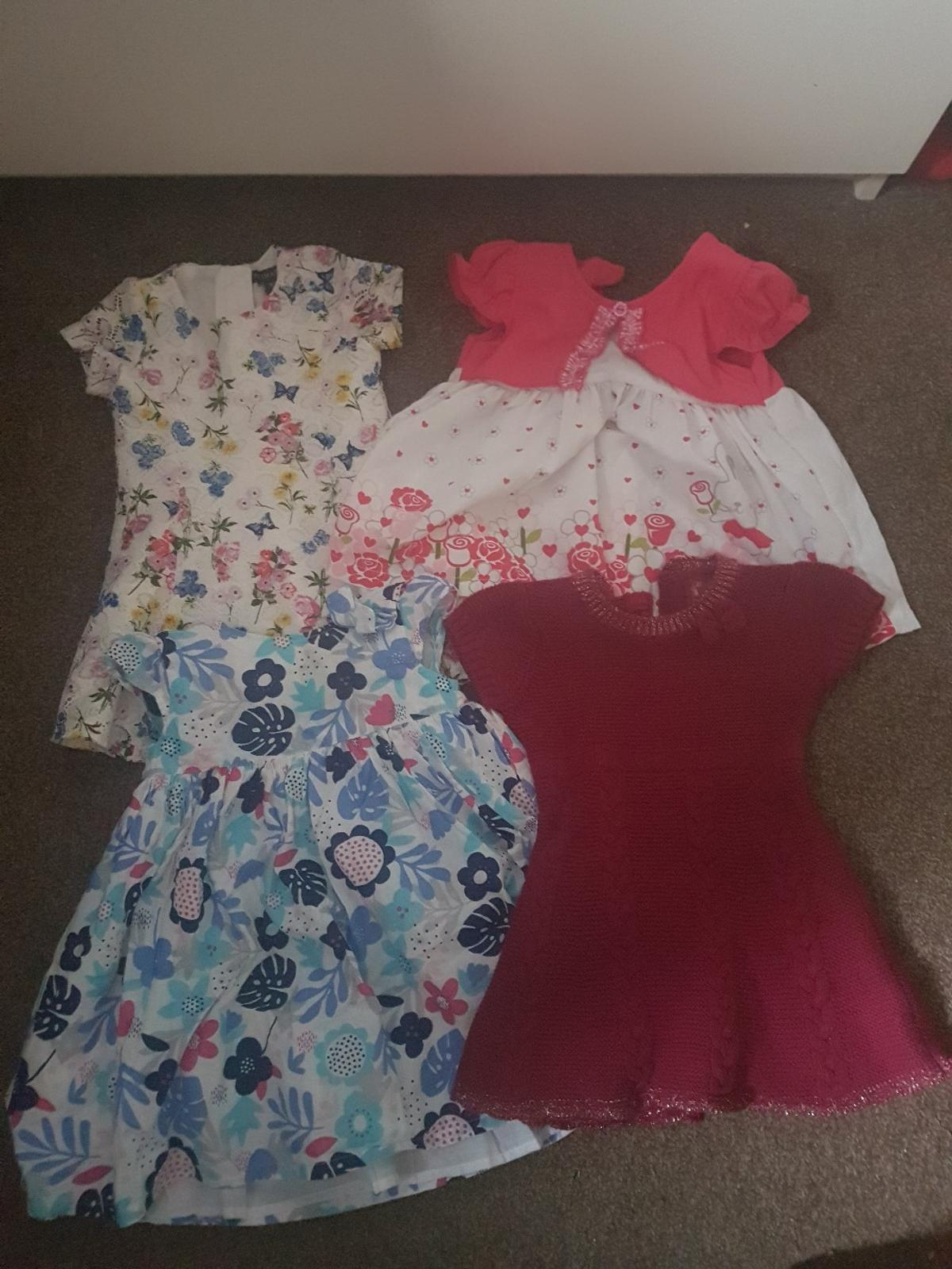 excellent condition, 15 dresses, tops vests and leggings. all washed and ready to go. from Mothercare, Primark, George, joules.