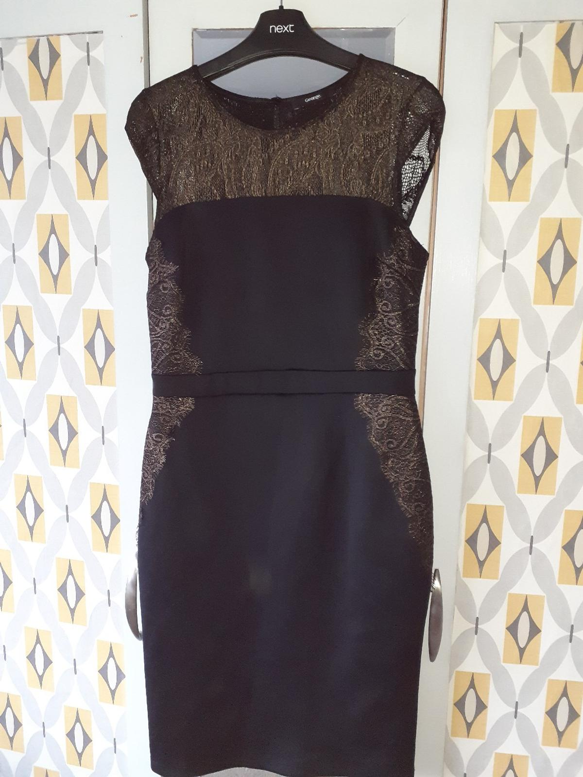 fitted dress from george with gold lace trim