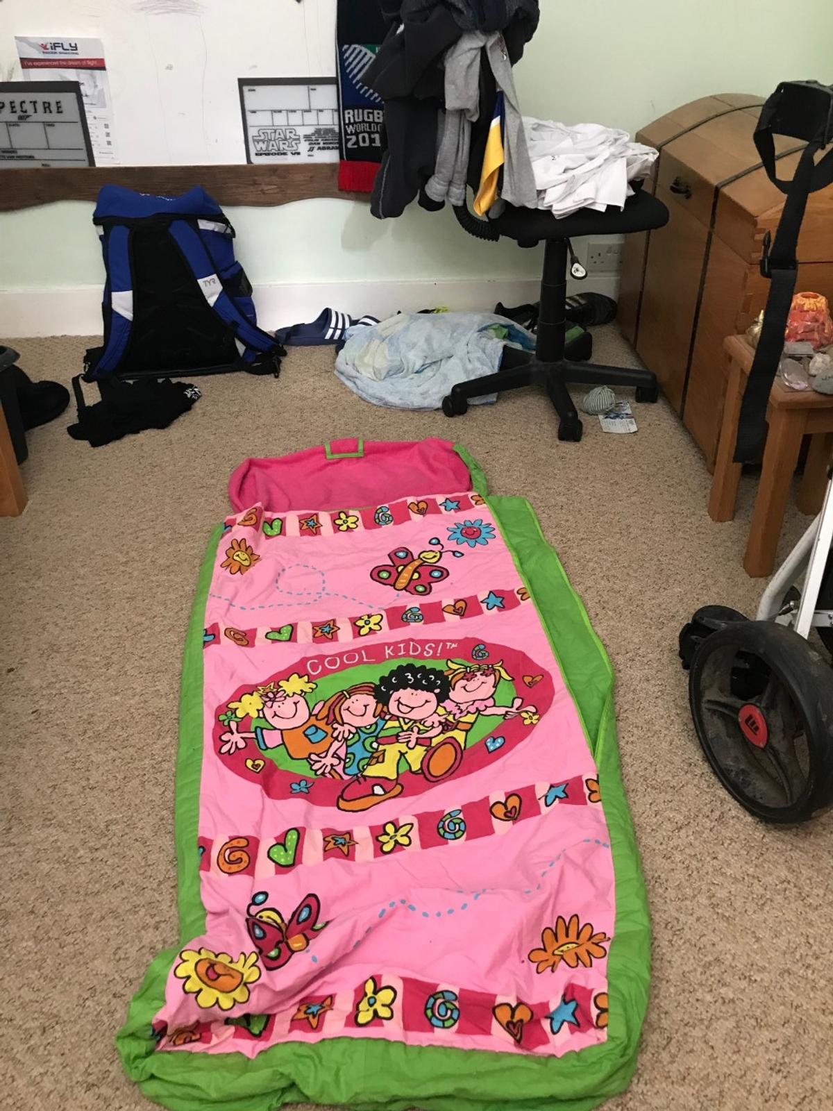 originally a ready bed but the inflatable punctured so now used as a sleepsack for sleepovers, with bag
