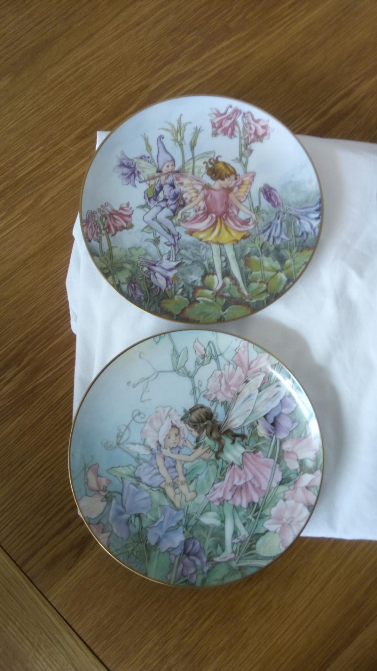 4x fairy plate,s. flower collection from Cicely Mary Barker. by Heinrich from Germany. the Candytuft.. the Blackthorn.. the Columbine.. the sweet pea. a rare collection. in perfect condition.. buyer must collect.