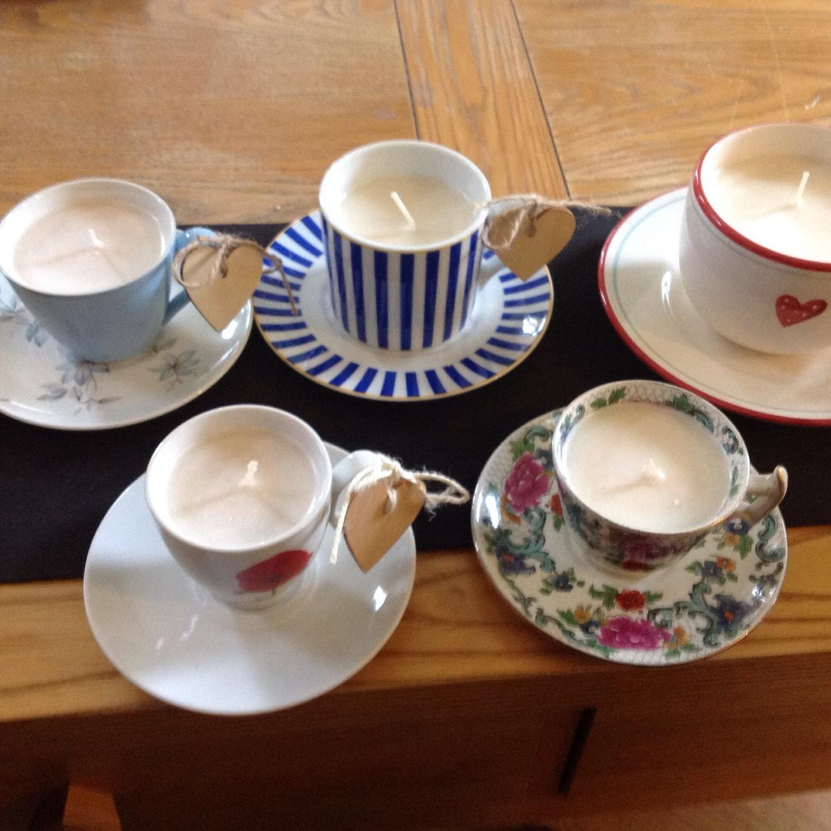 Wide range of teacup candles, many colours and size, ranging in price from £5 to £12