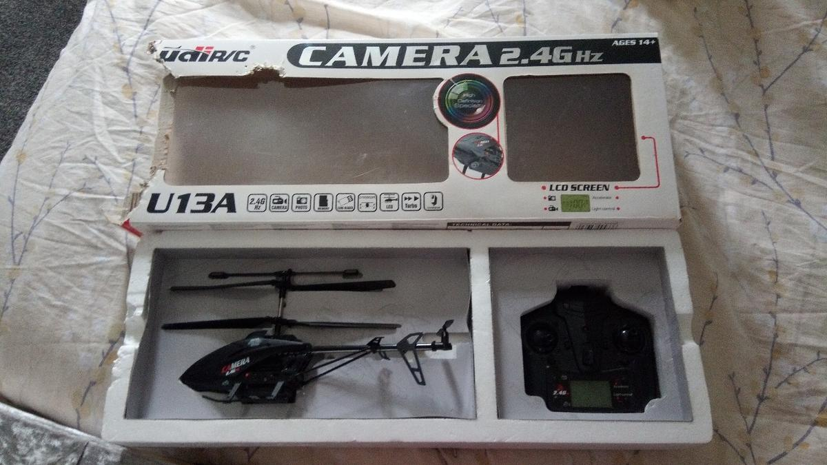 flying helecopter with camera high definition specialty billing for a teenager bought years ago used a few times and been in different places of the house since box is danaged but doesn't effect the use of the helecopter would £45