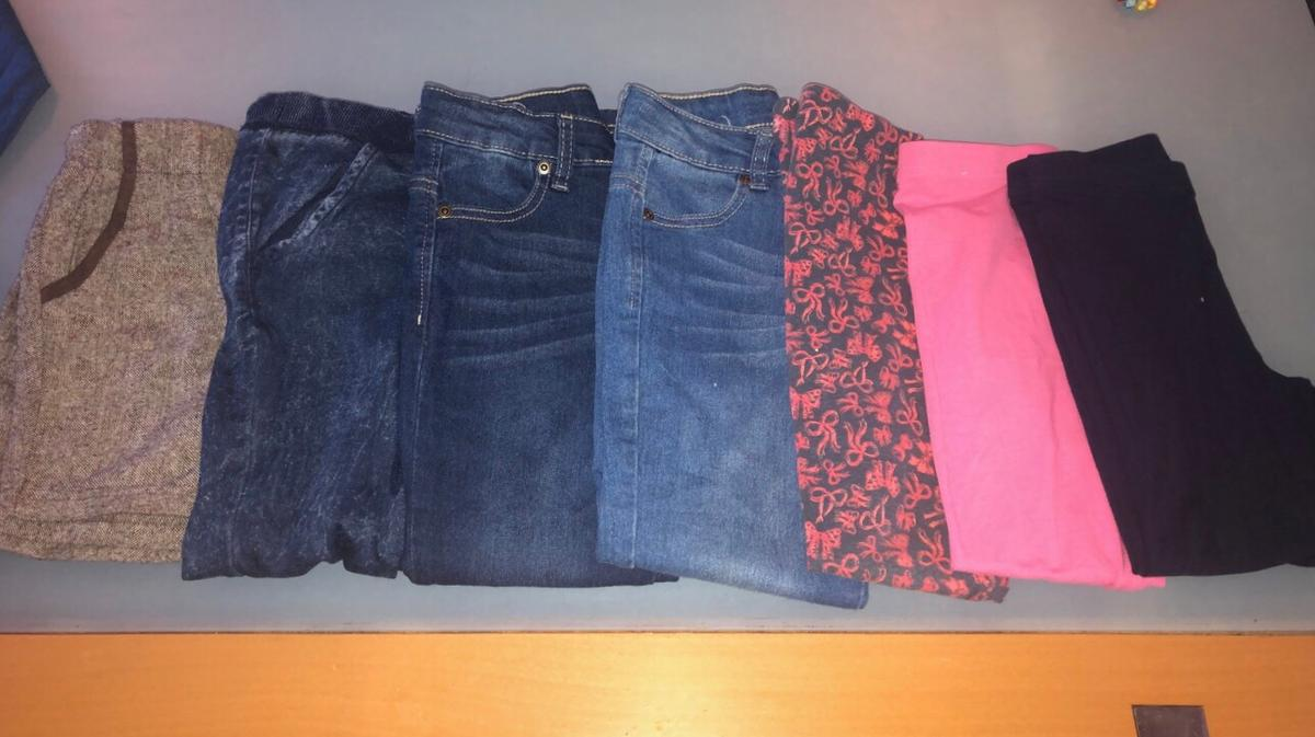 Selection of jeans and leggings aged 5-6 and 6-7 years. Also a jean dress aged 5-6. All I'm good condition  8 items in total  Pick up Abbey wood Deliver local for small fee