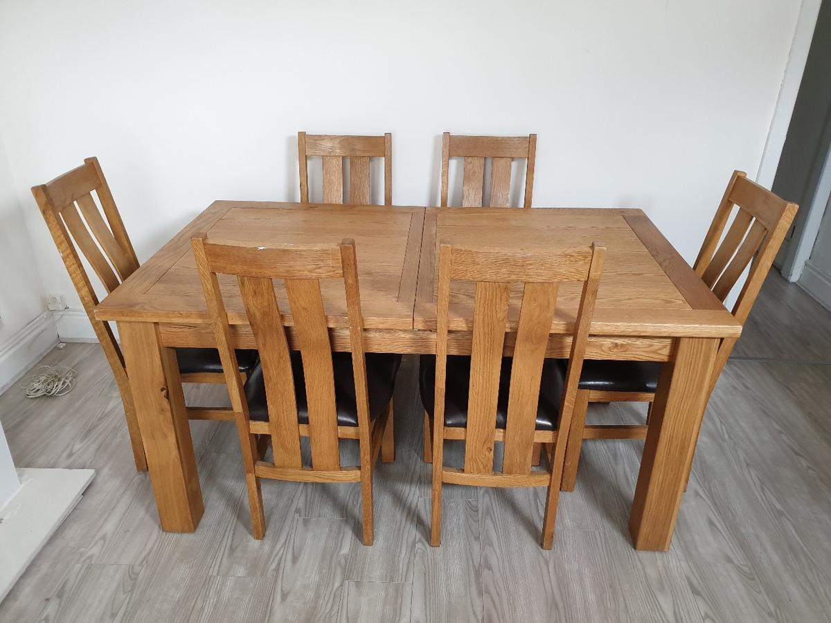 Solid Oak Extending Dining Table And 6 Chairs