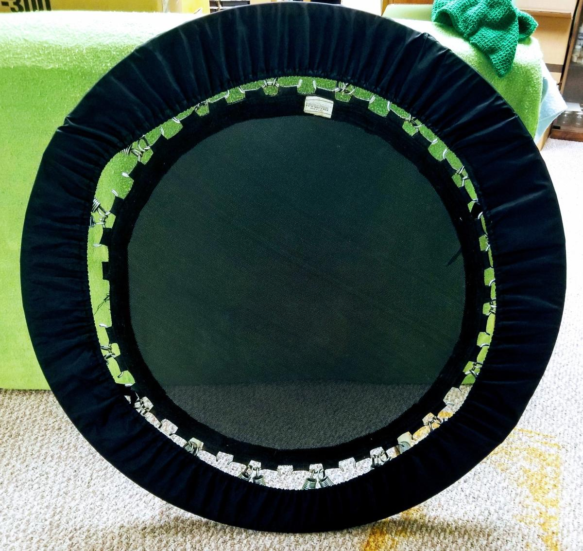 """High end rebounder from Needak. Paid $270 new+$40ish for videos&replacement springs.40"""" across,folds in half for easy storage&transportation. (Legs r spring loaded&fold under. Comes w/carrying bag(small hole. See pic) w/outside pocket. Rebounder has soft bounce mat. 1 mat spring tab has pulled out(see pic). Still usable& replacement mats are available online. Comes with additional replacement springs, videos&beginners manuals. Over all very clean usable condition. Located in Pataskala OH"""