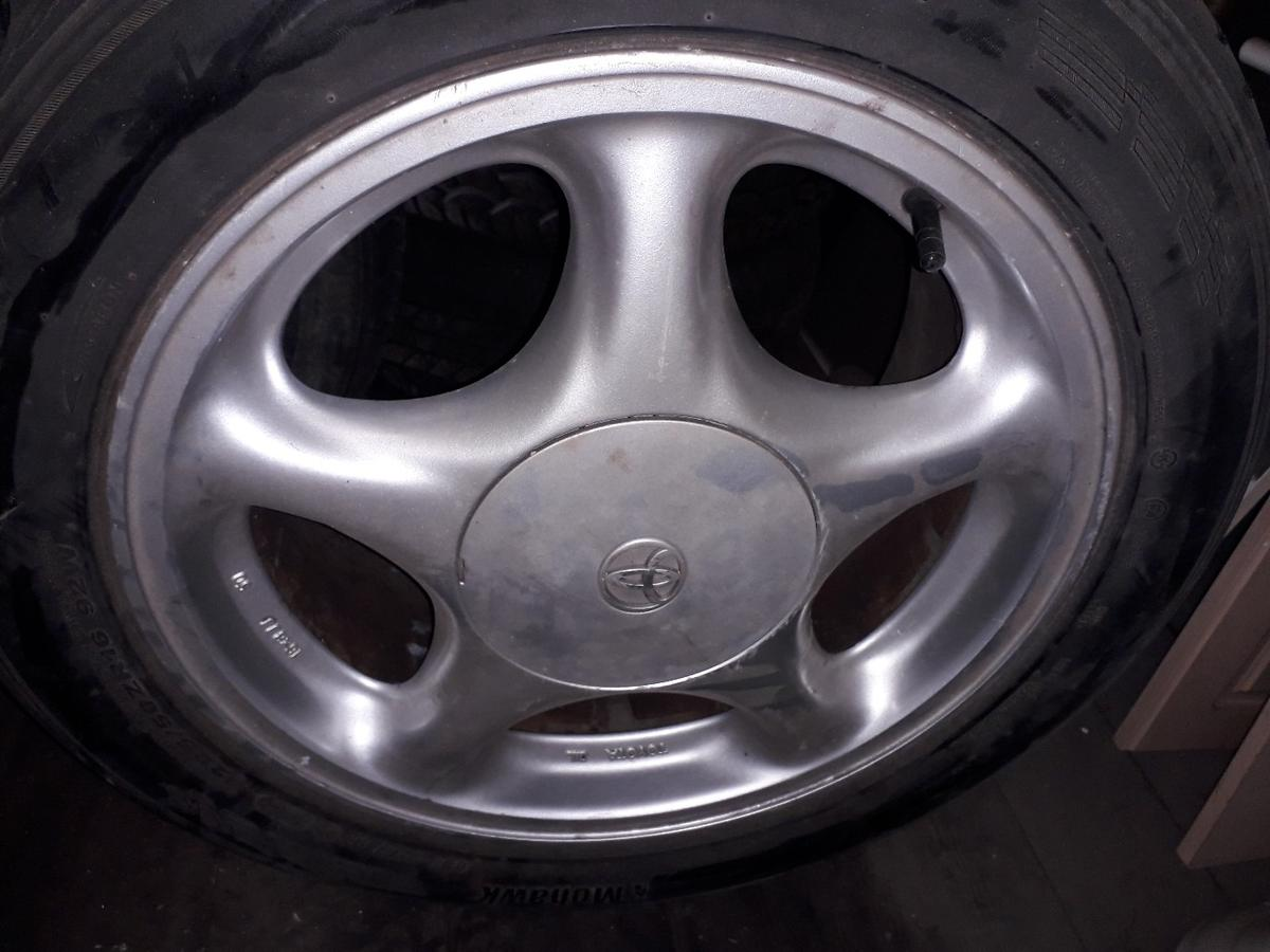 Toyota Supra alloys in good condition. There are two centre caps missing. Tyres will be removed, as they are being sold separately as they are two different sizes and not same make. I have put them on here for sale, if you want to keep tyres on them we can come to some arrangement. Collection only. Cash on collection. Bury area.
