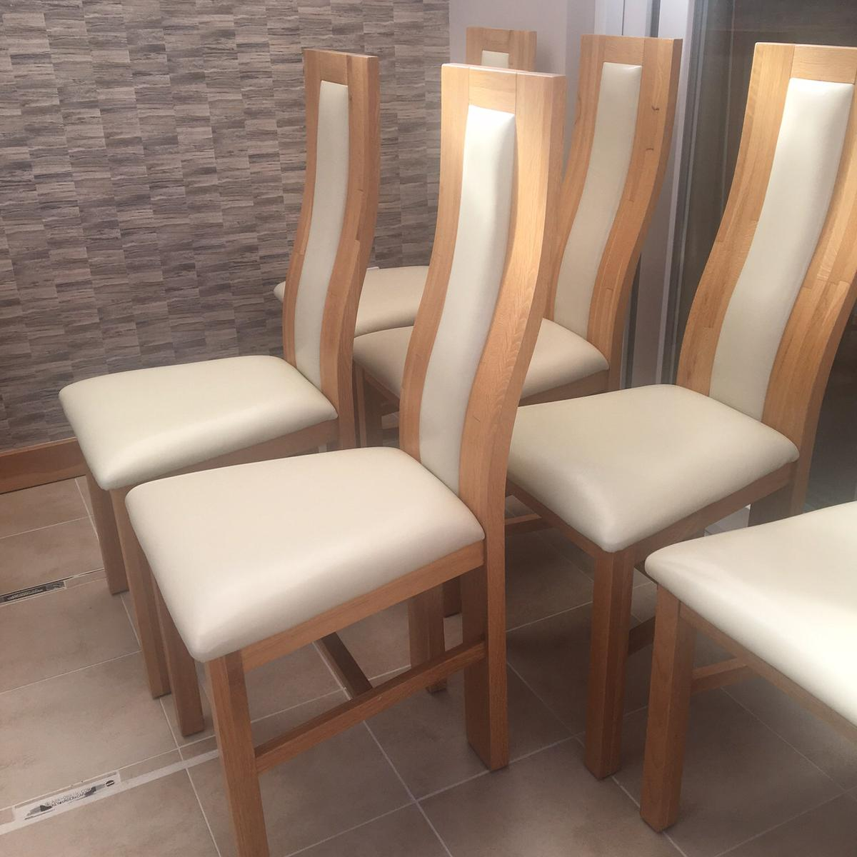 Solid oak/ leather dining chairs. in Cannock Chase for £ ...