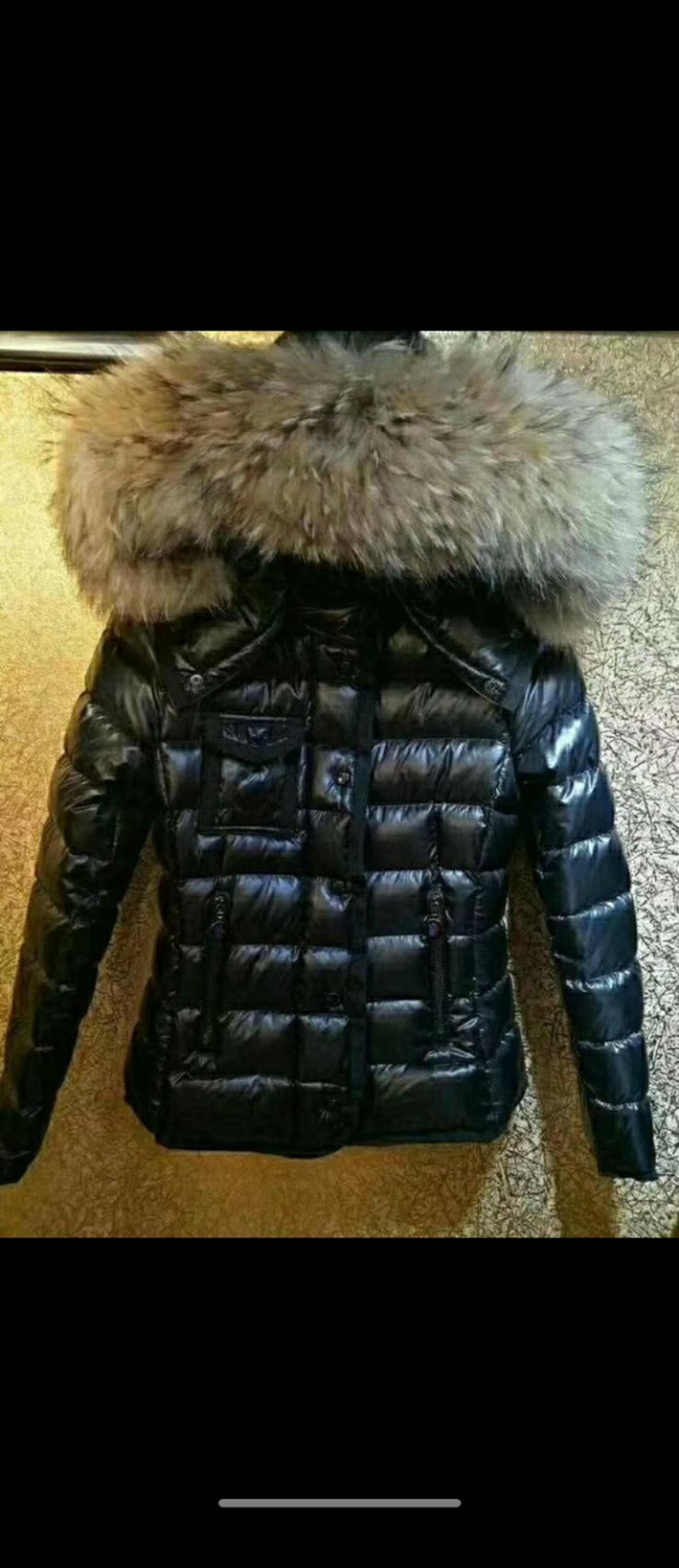 Black Armoise Moncler Coat Raccoon Fur