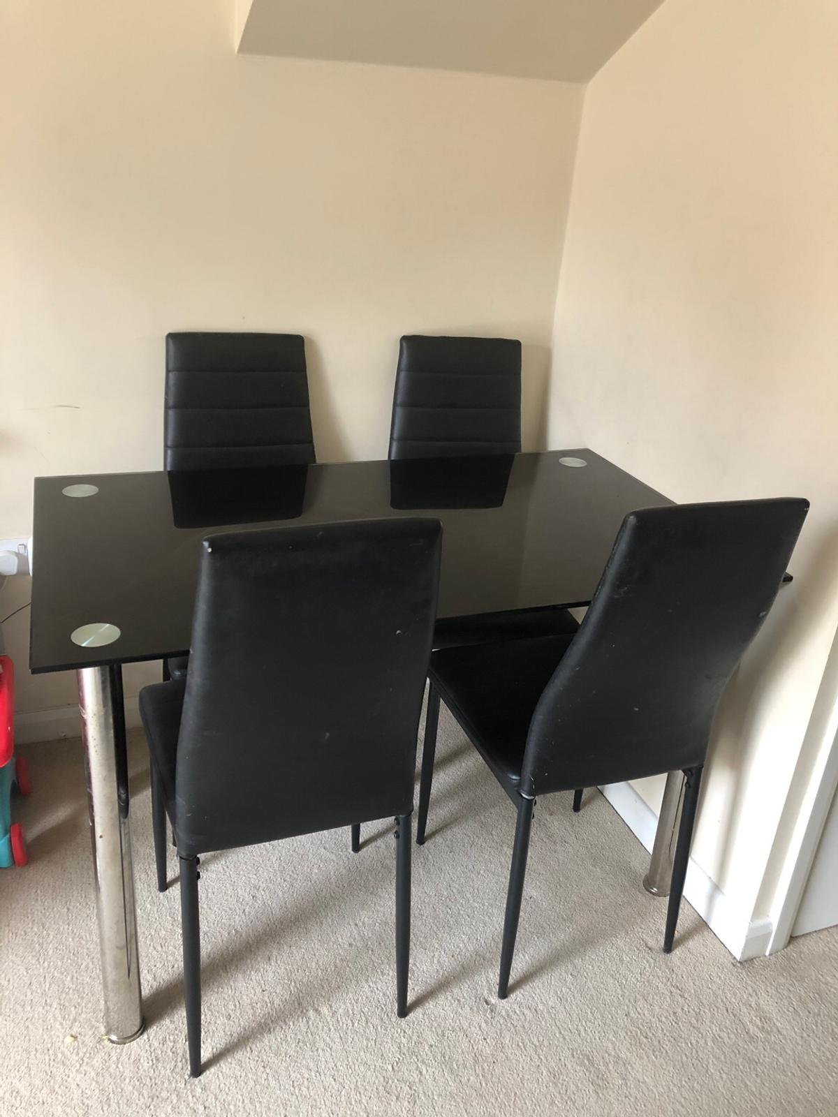 Black Glass Dining Room Table And 4 Chairs In NN15